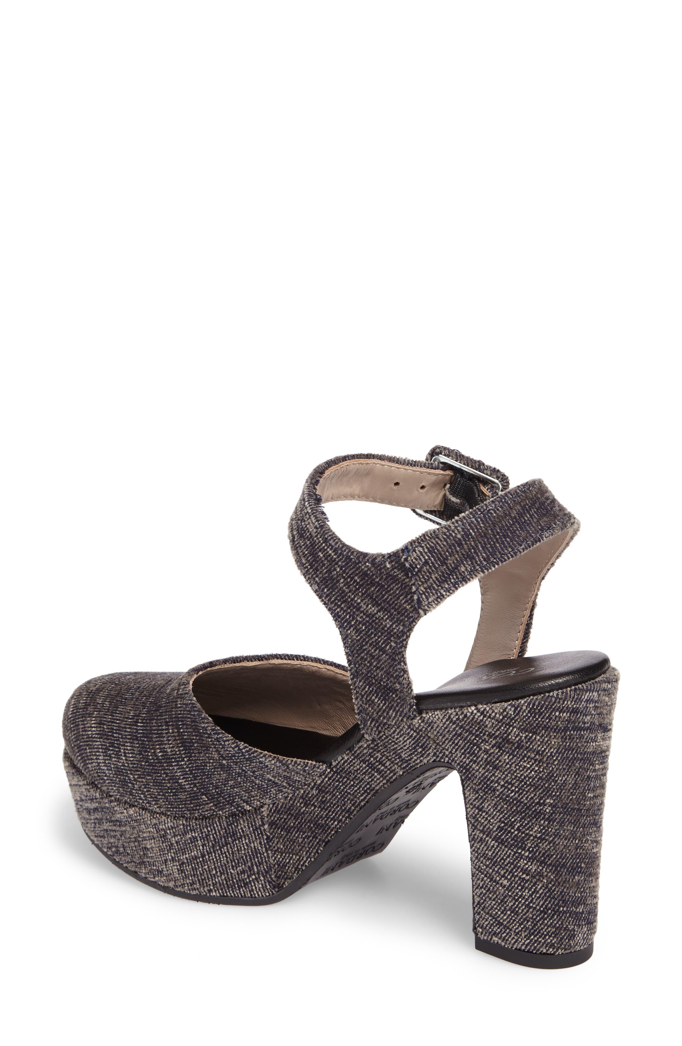Torin Ankle Strap Platform Pump,                             Alternate thumbnail 2, color,                             Grey Crushed Velvet