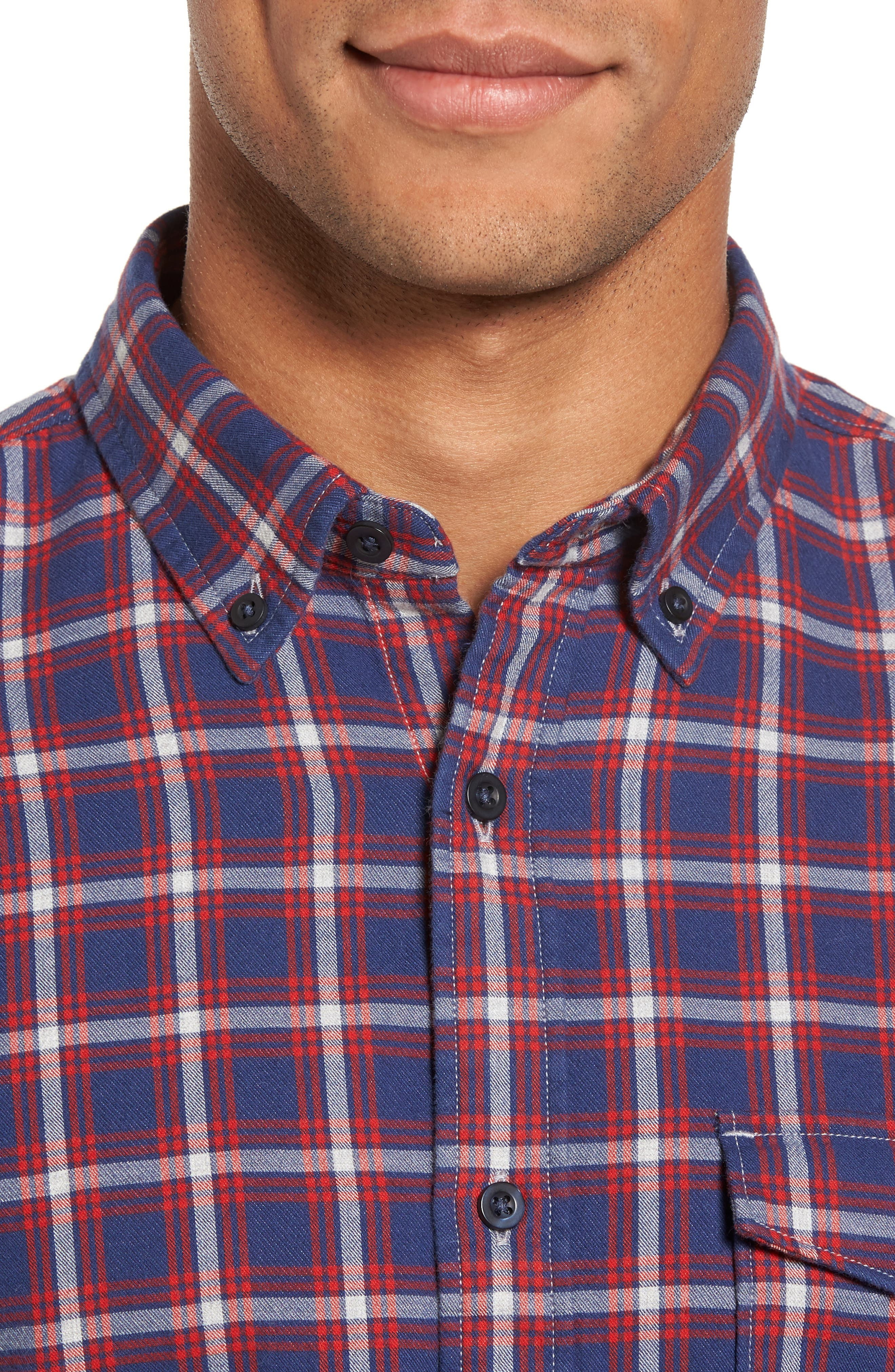 Trim Fit Duofold Check Sport Shirt,                             Alternate thumbnail 4, color,                             Navy Iris Red Plaid Duofold