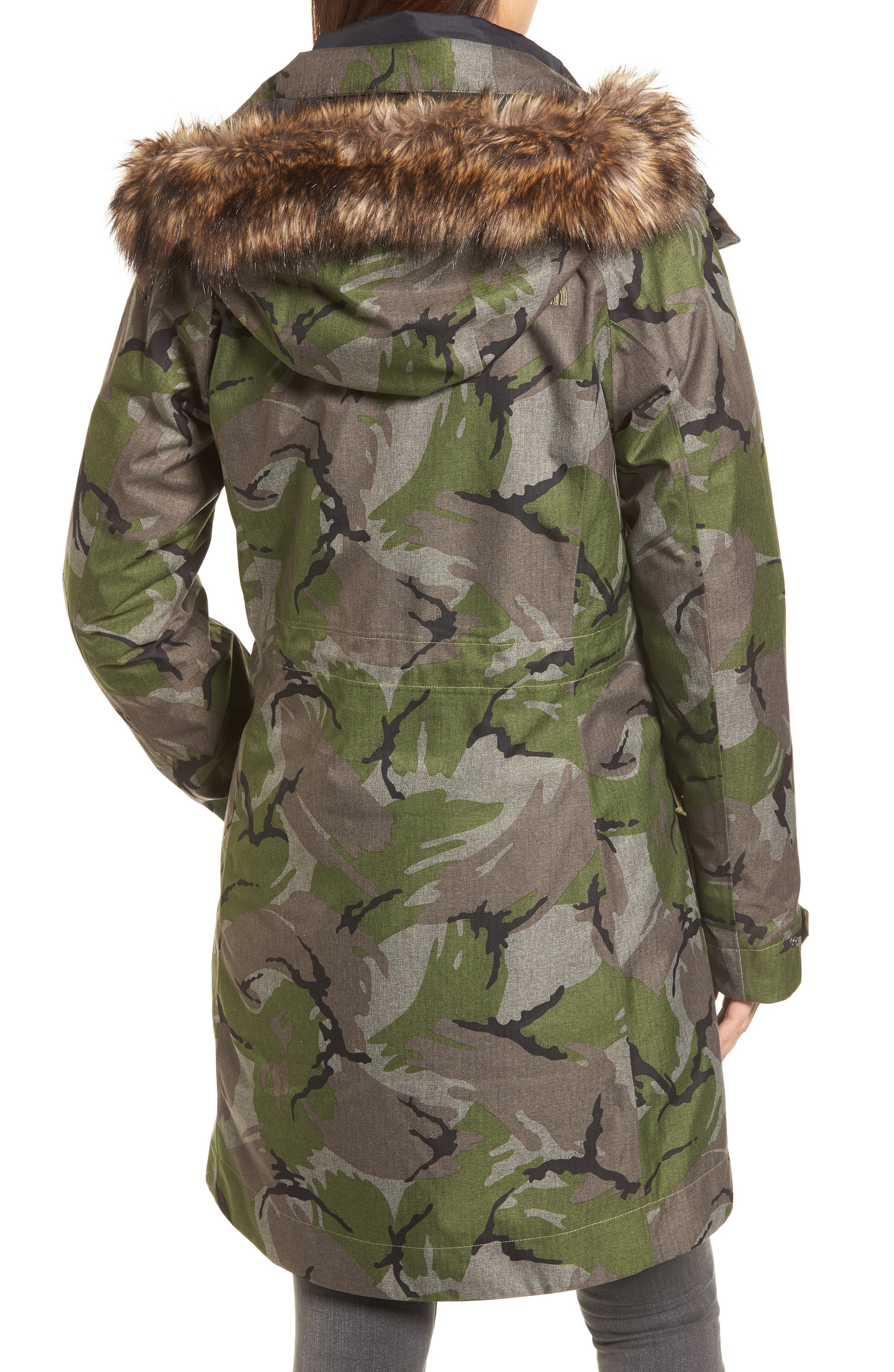 Outer Boroughs 3-in-1 TriClimate<sup>®</sup> Waterproof Jacket with Faux Fur Trim,                             Alternate thumbnail 2, color,                             Burnt Olive Green Disrupt Camo