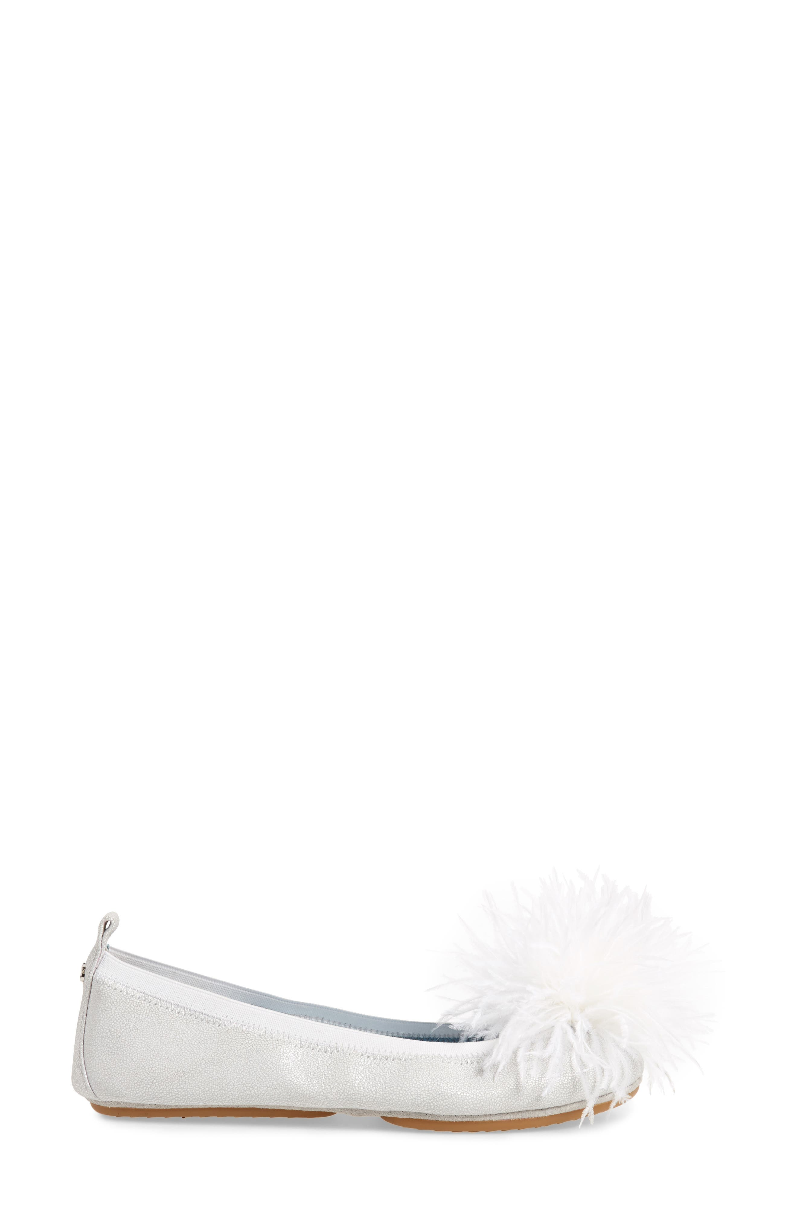 Marabou Feather Pompom Flat,                             Alternate thumbnail 3, color,                             Silver Leather