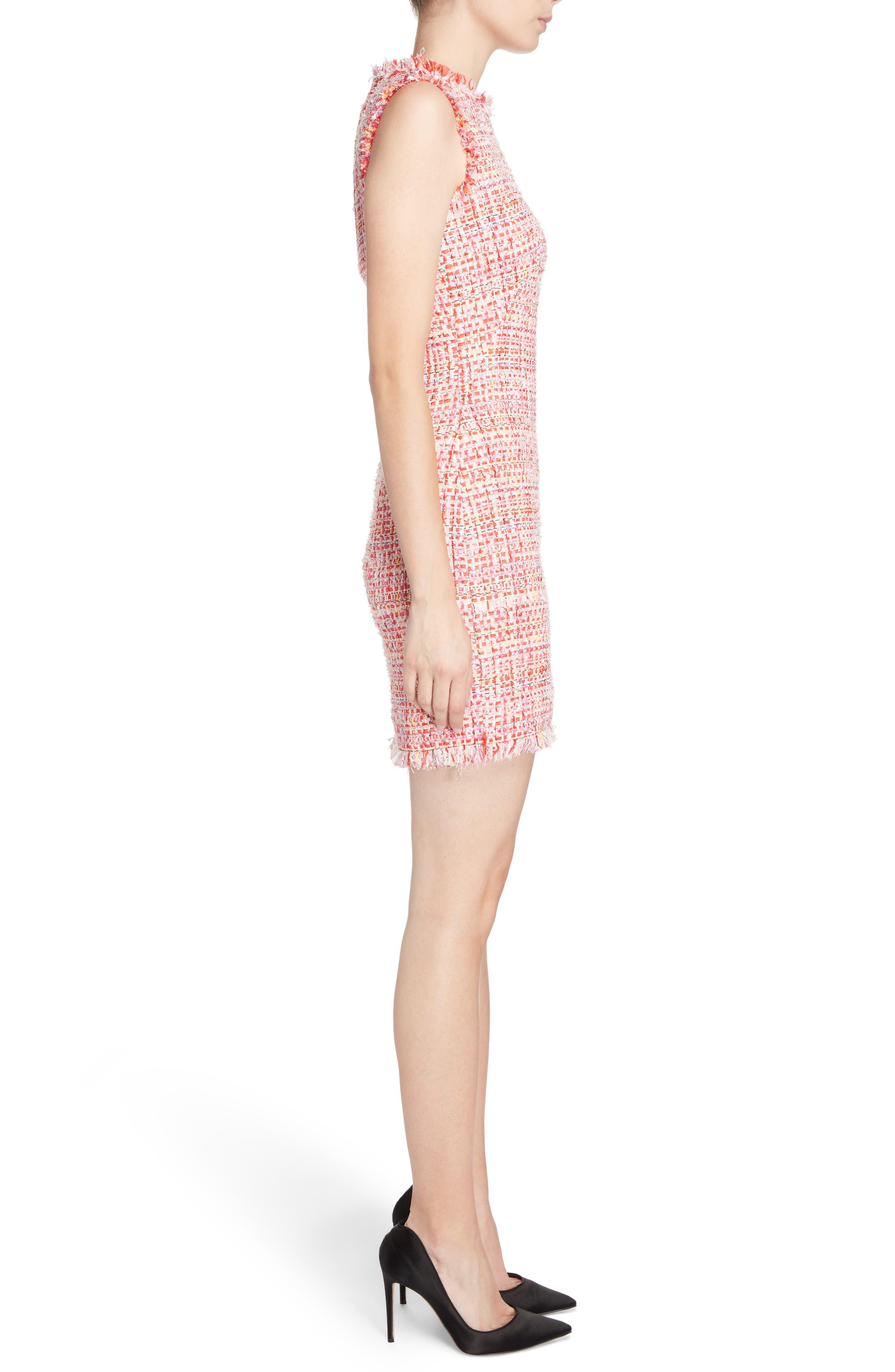 Ribbon Tweed Sheath Dress,                             Alternate thumbnail 3, color,                             Mix