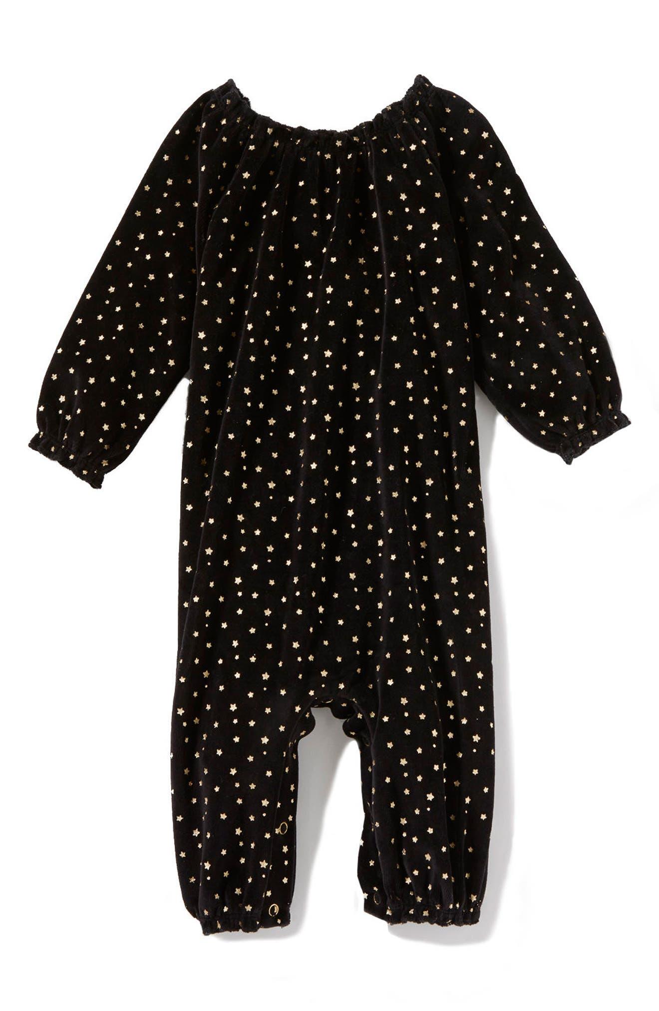 Peek Star Velvet Romper,                         Main,                         color, Black