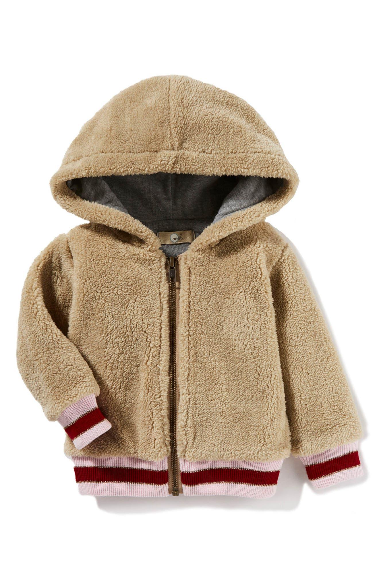 Peek Hooded Fleece Bomber Jacket (Baby Girls)