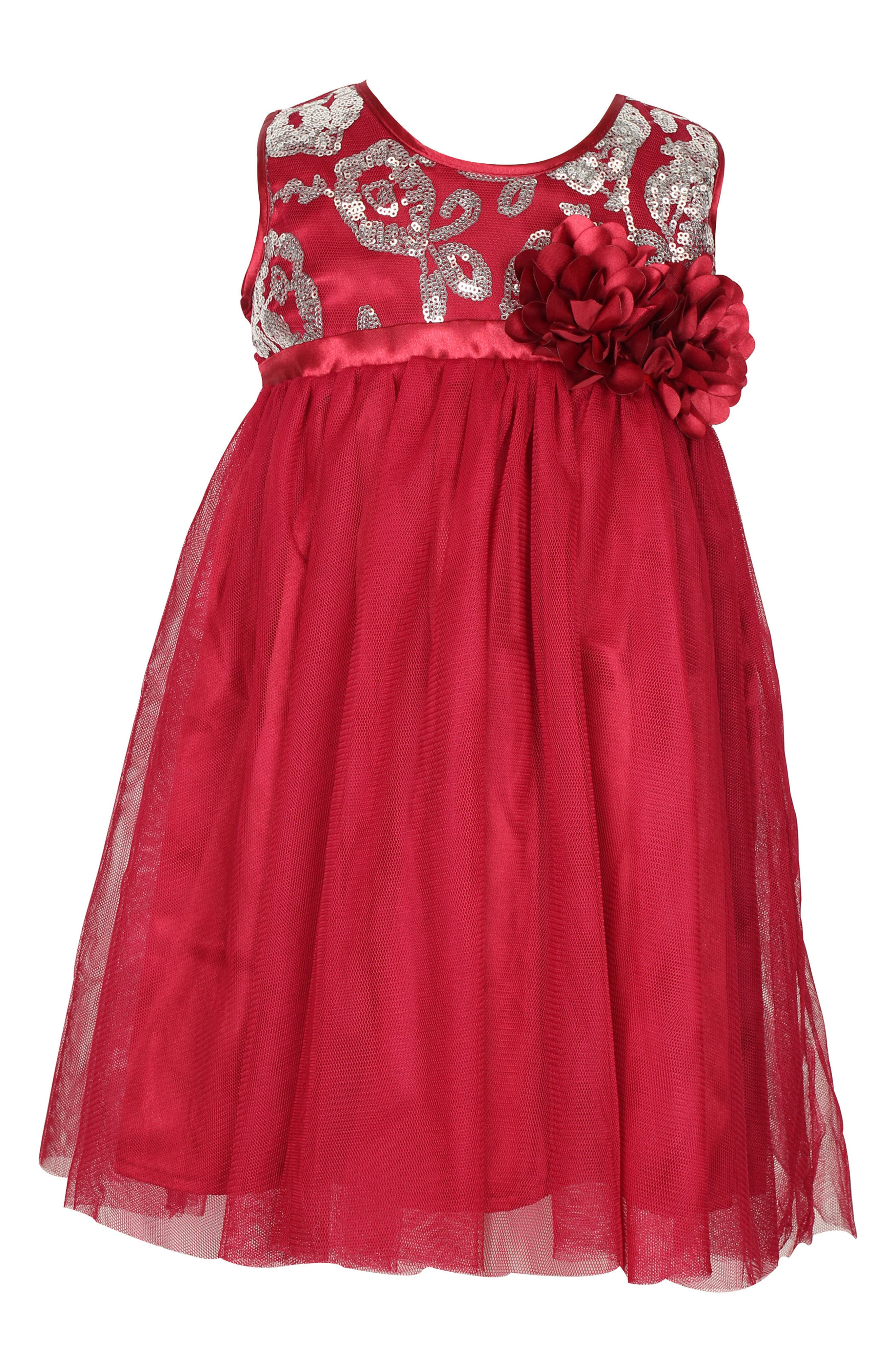 Sleeveless Tulle Dress,                         Main,                         color, Red