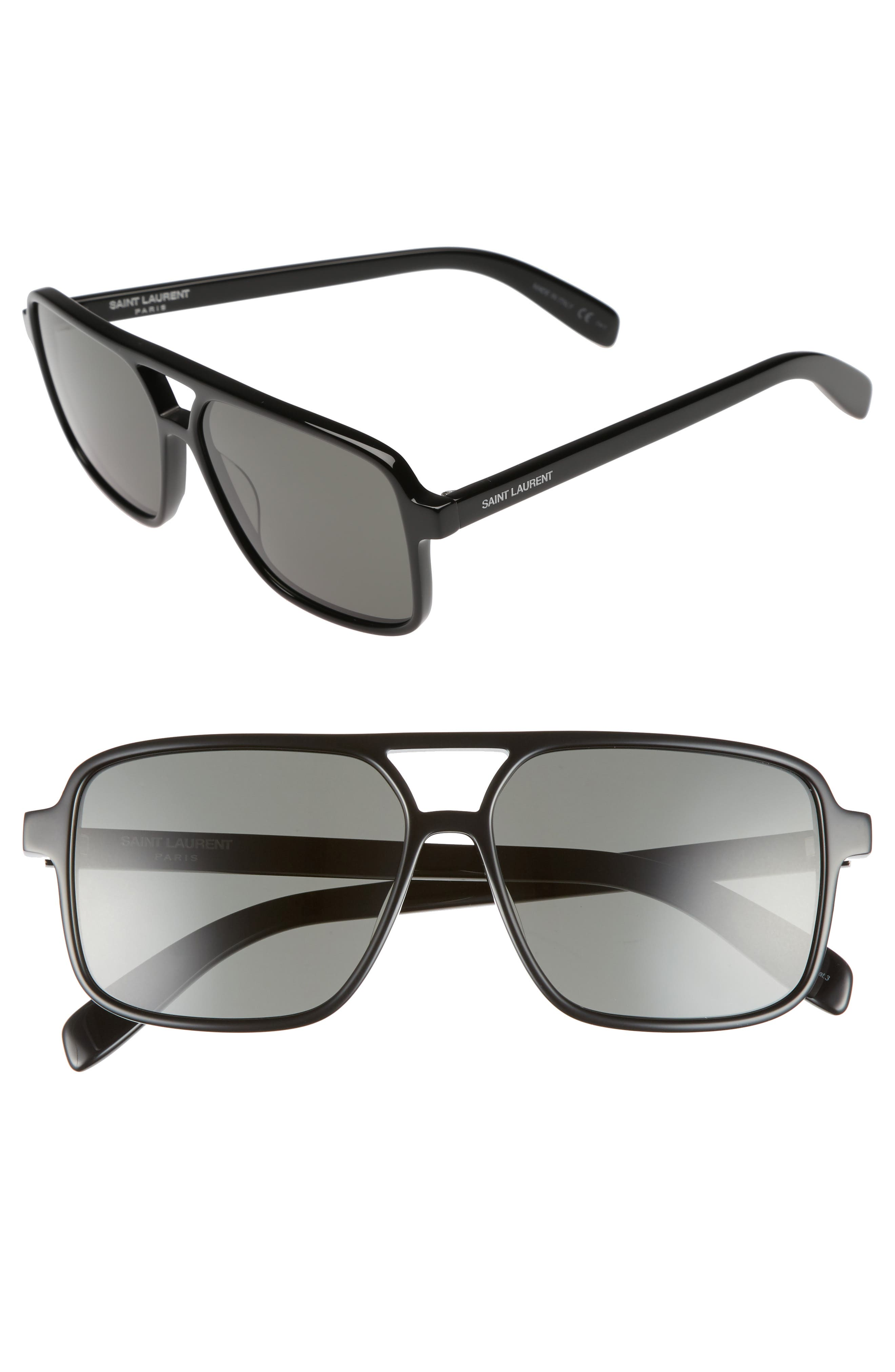 Main Image - Saint Laurent 58mm Square Navigator Sunglasses