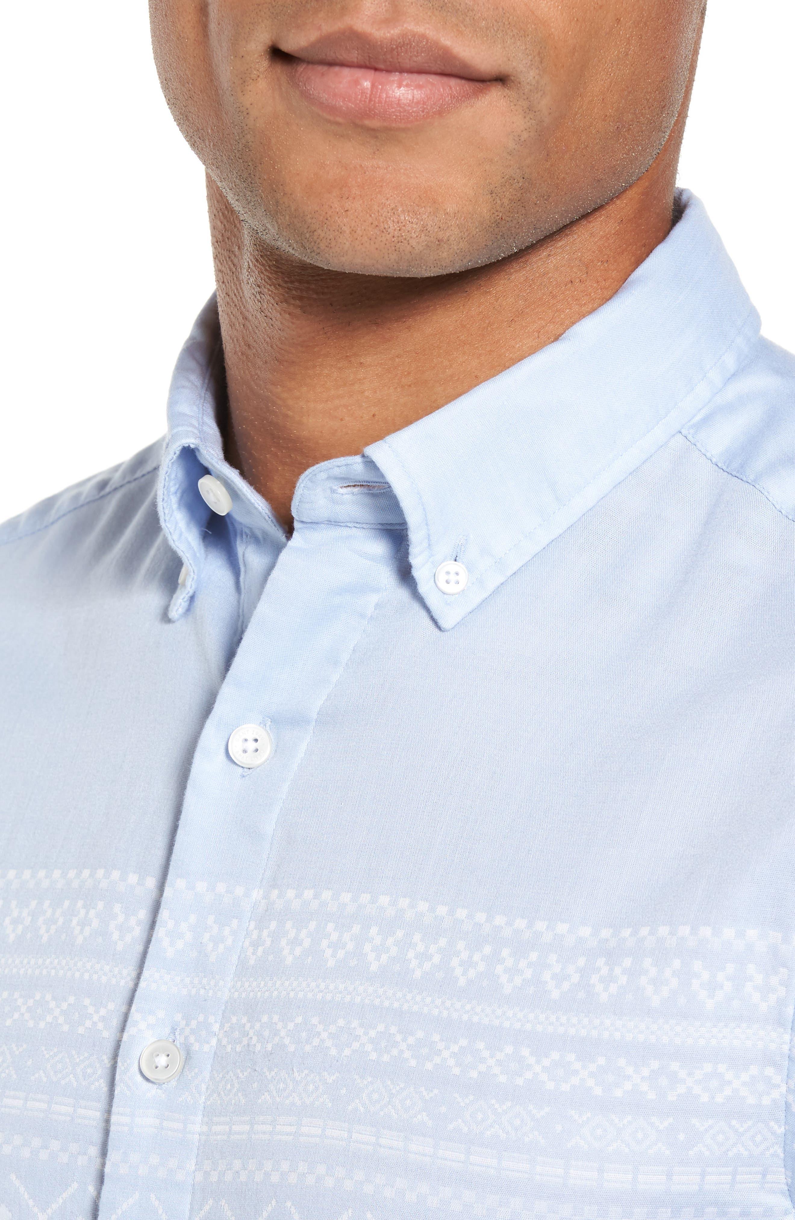 02 Extra Slim Fit Fair Isle Print Sport Shirt,                             Alternate thumbnail 4, color,                             Hamptons Blue