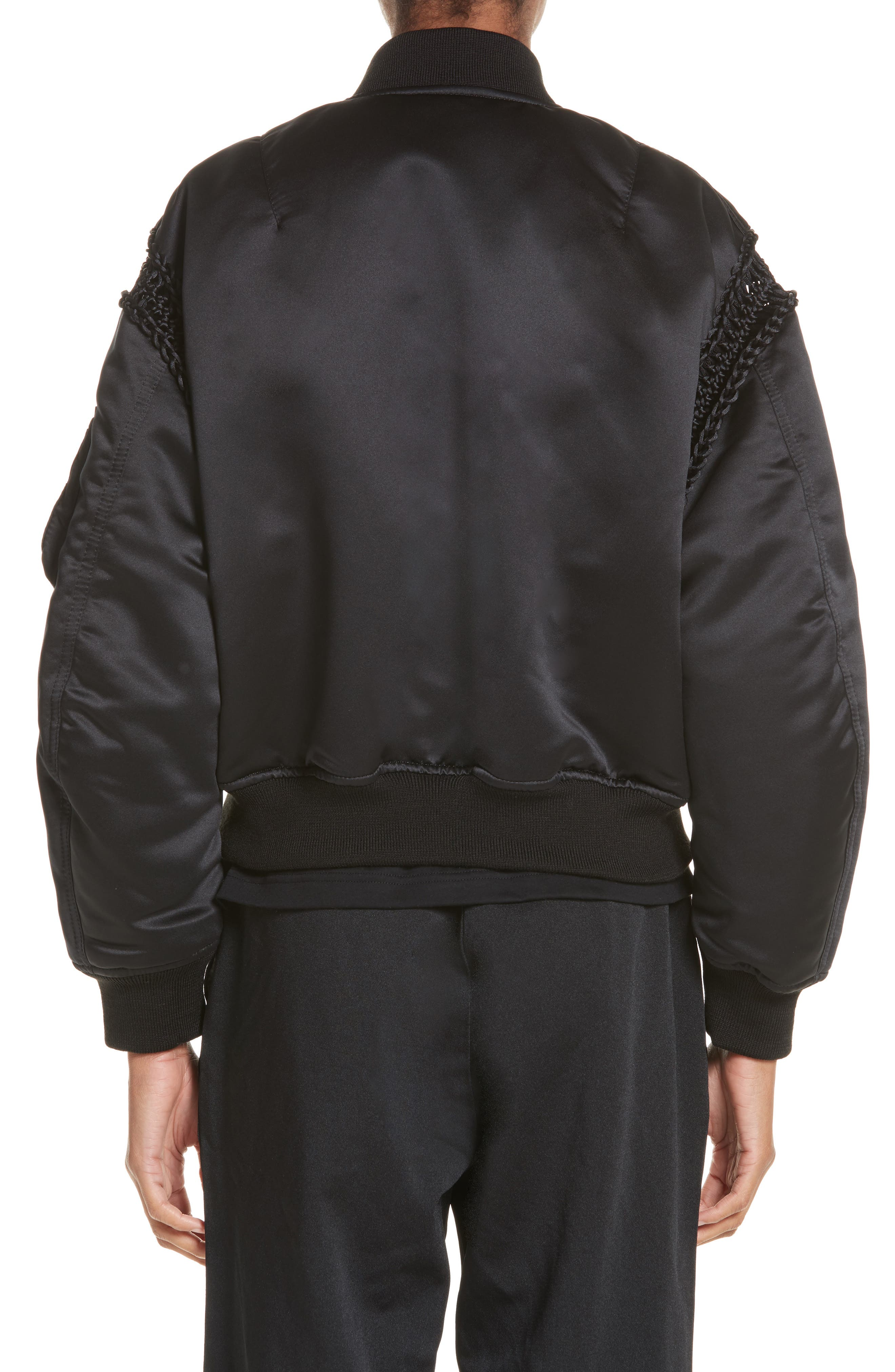Alternate Image 2  - noir kei ninomiya Macramé Trim Satin Bomber Jacket