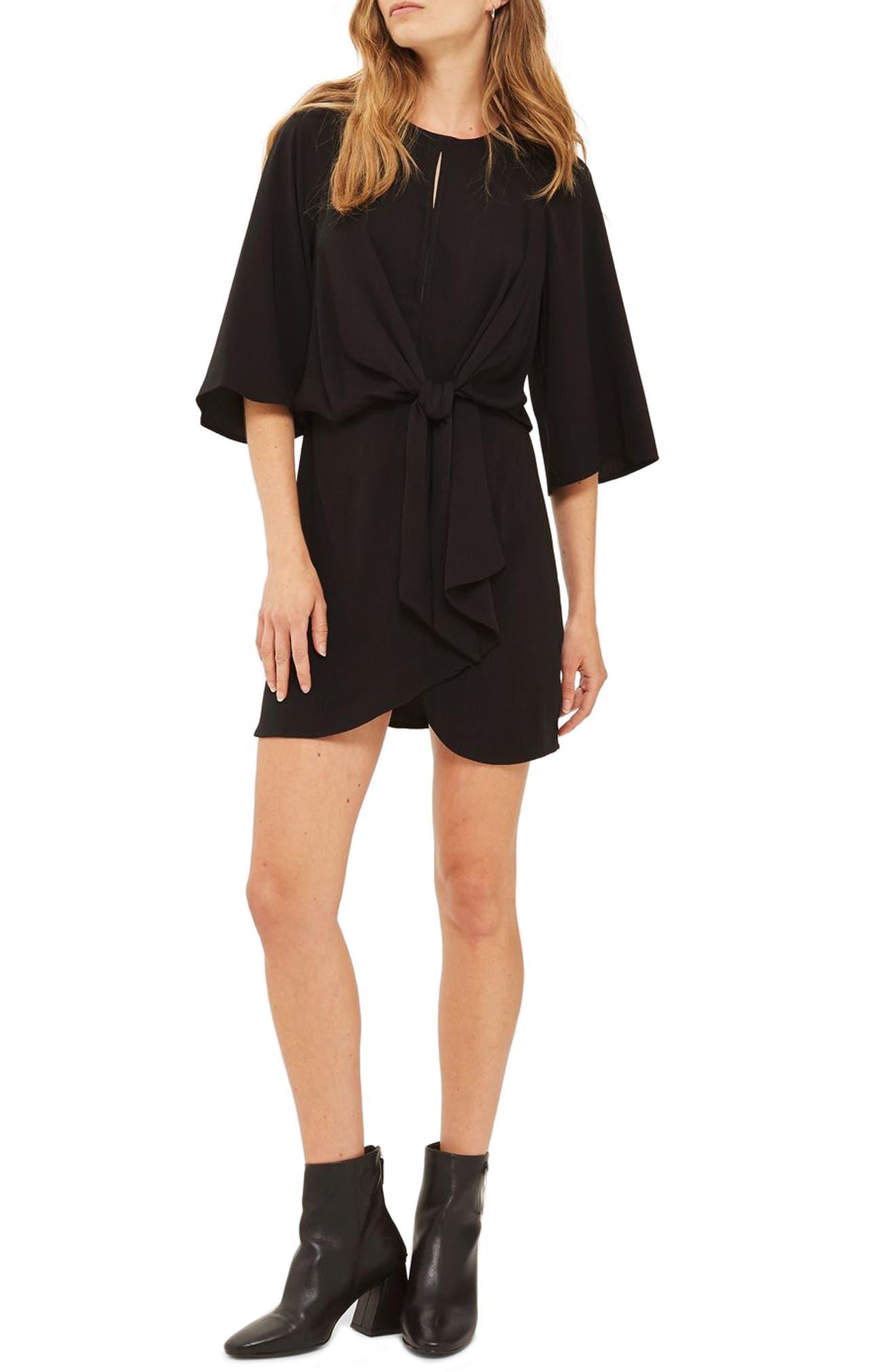 Tie Front Minidress,                         Main,                         color, Black