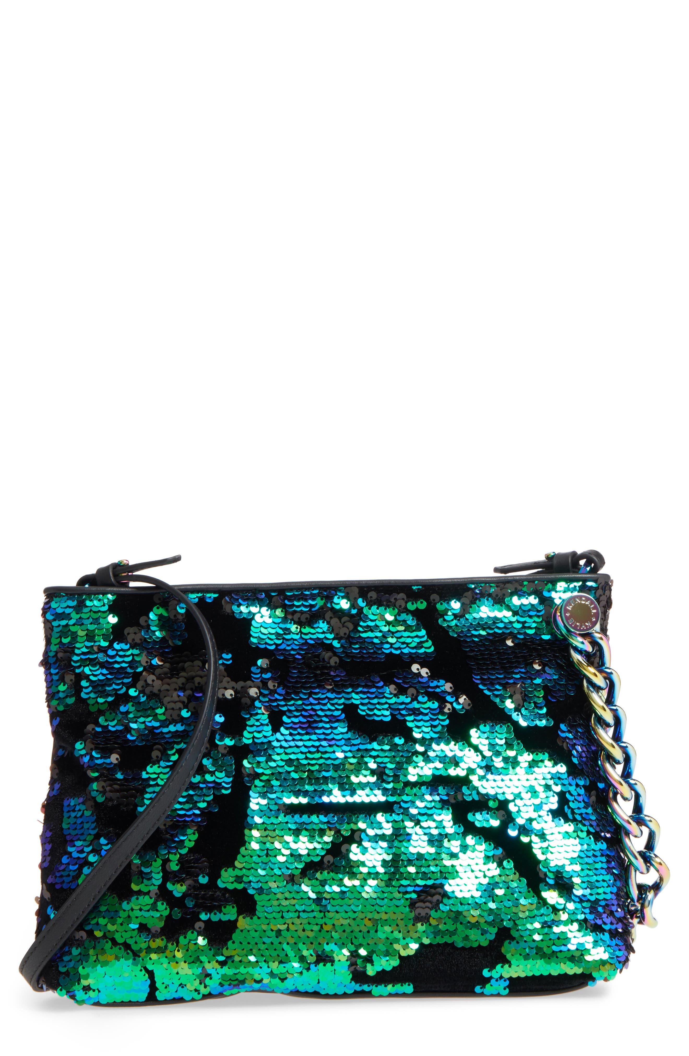Corey Velvet & Sequin Clutch,                             Main thumbnail 1, color,                             Iridescent Sequins