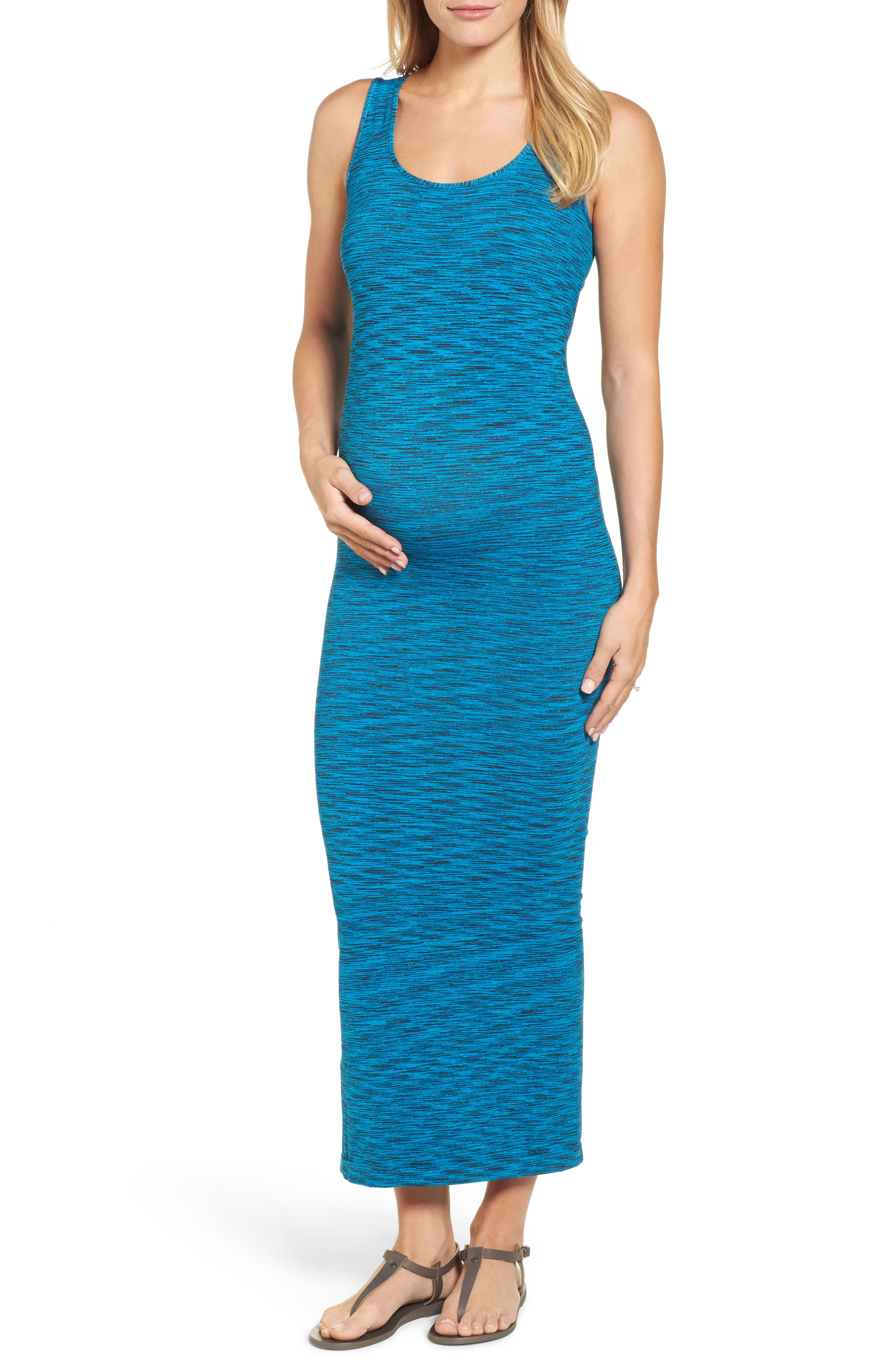 Marled Maxi Maternity Dress,                         Main,                         color, Cobalt/Black