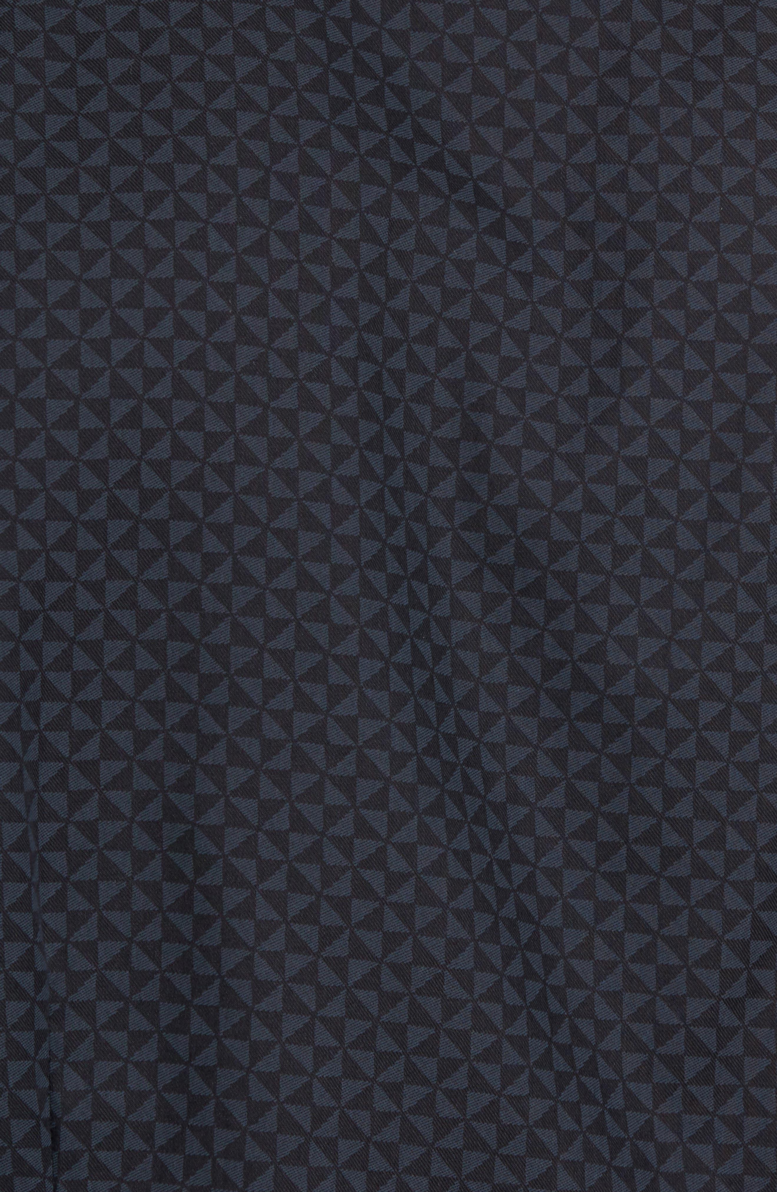 Slim Fit Geo Print Twill Sport Shirt,                             Alternate thumbnail 5, color,                             Black