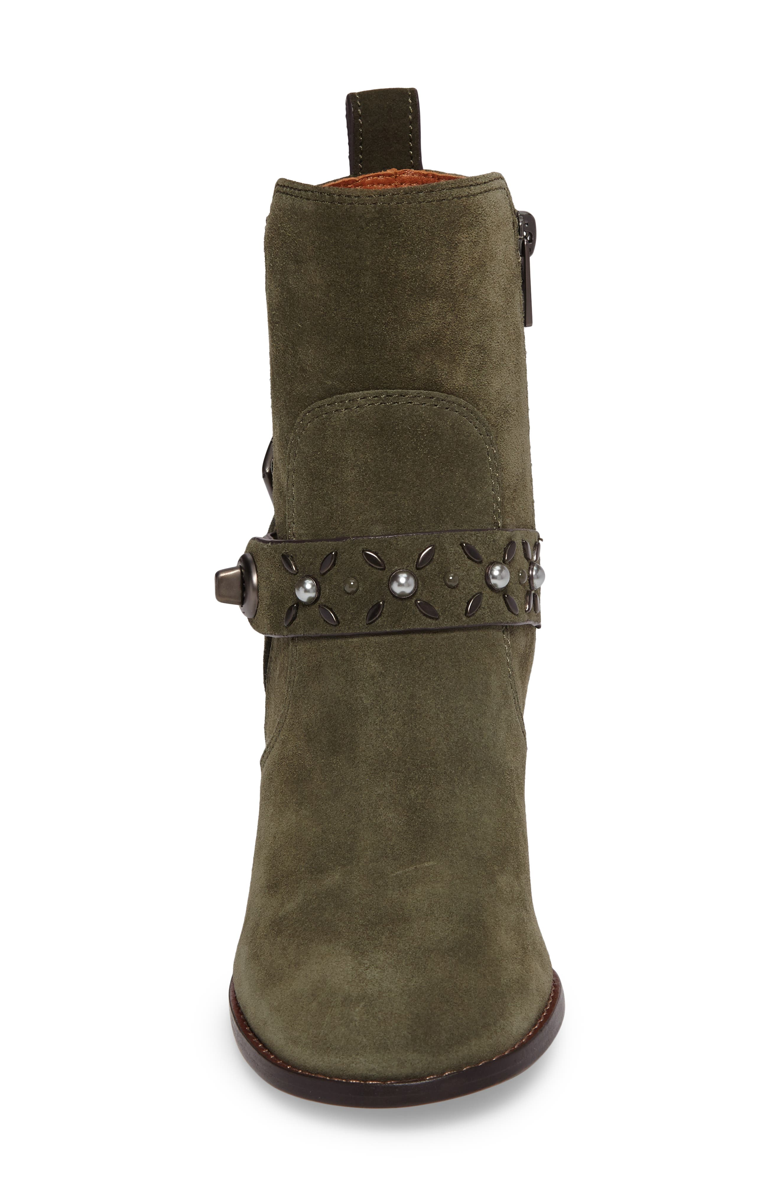 Studded Western Boot,                             Alternate thumbnail 4, color,                             Olive Suede