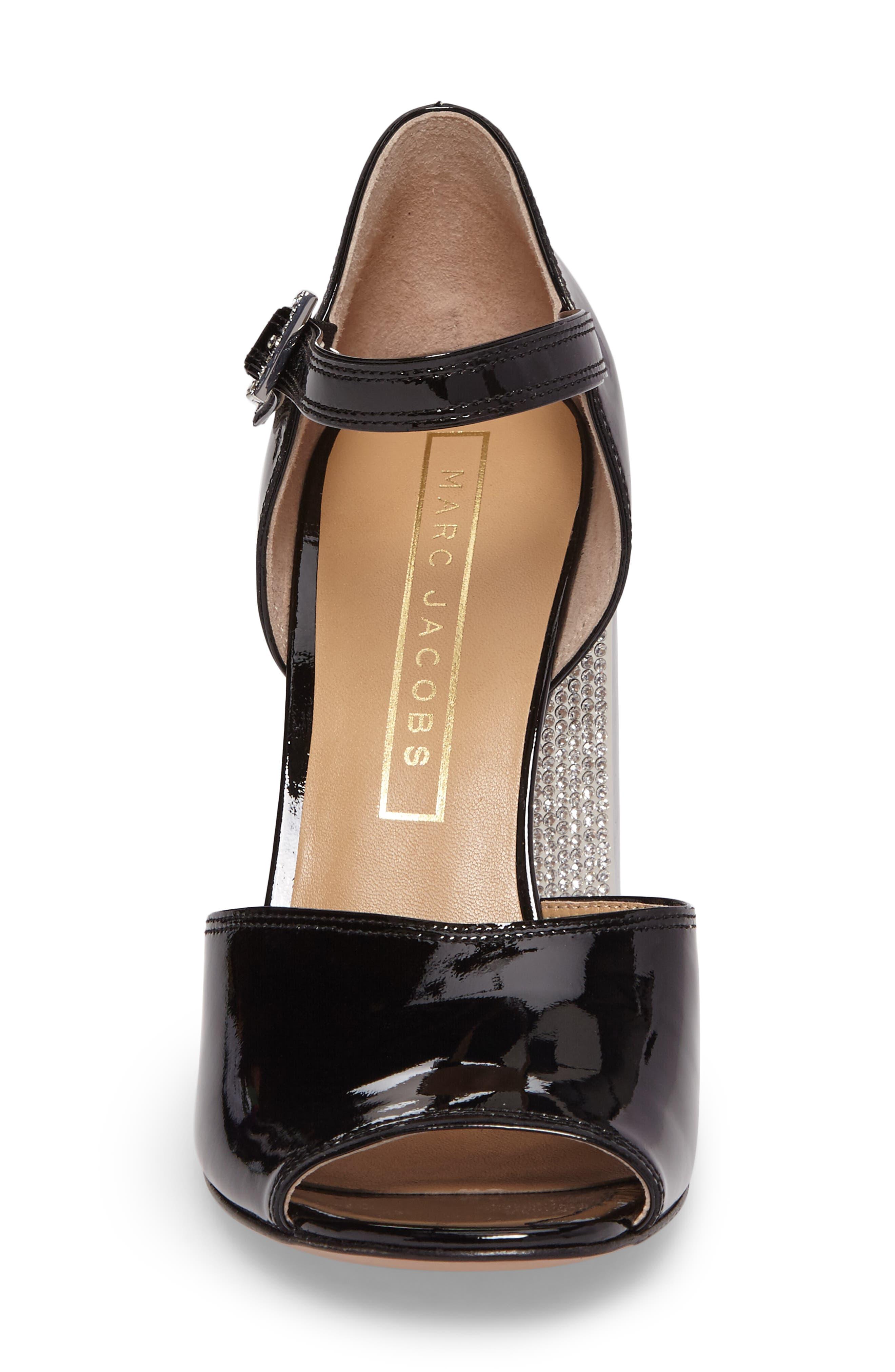 Kasia Embellished Ankle Strap Sandal,                             Alternate thumbnail 4, color,                             Black
