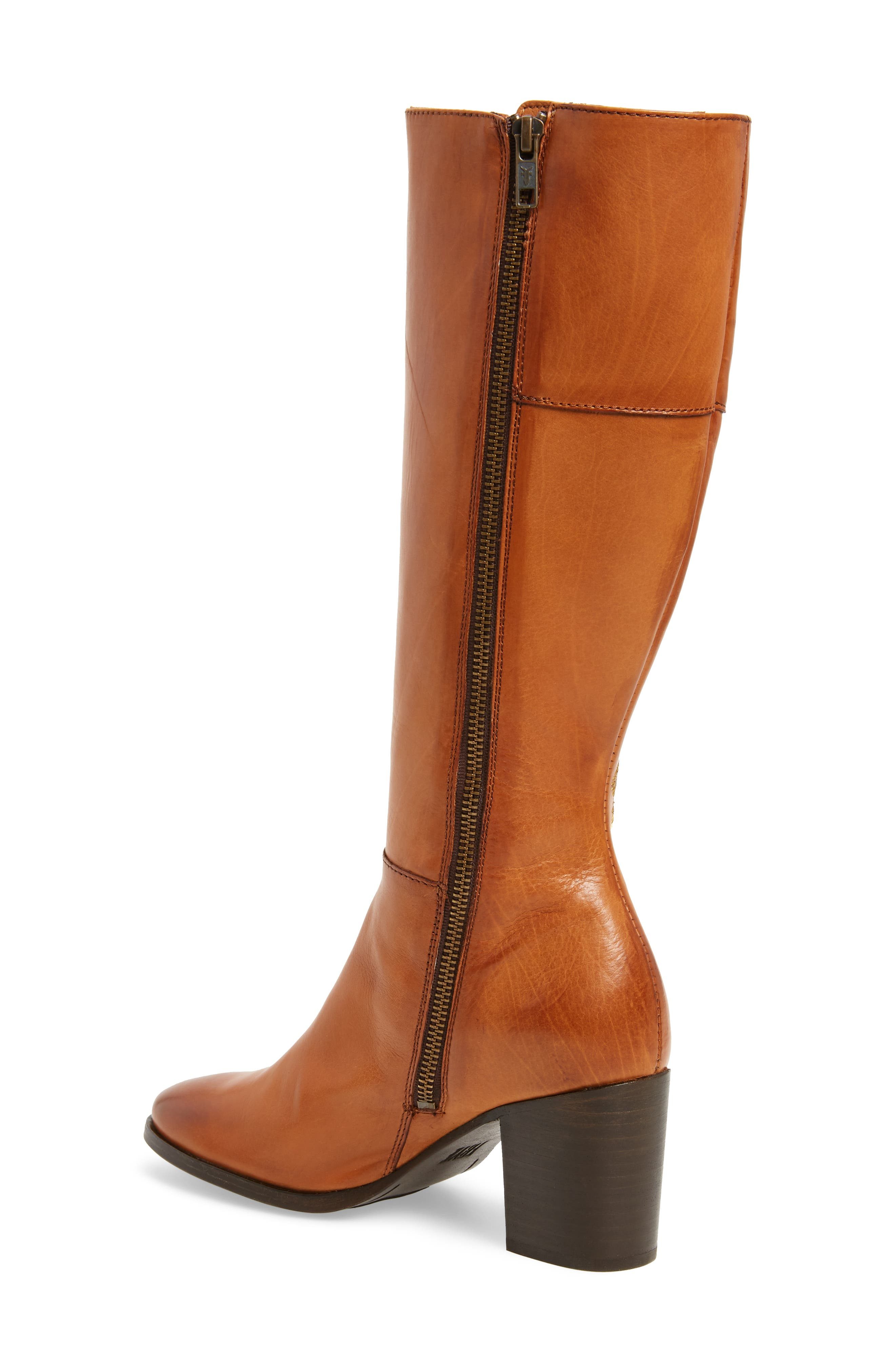 Nova Floral Embroidered Knee High Boot,                             Alternate thumbnail 2, color,                             Cognac Fabric