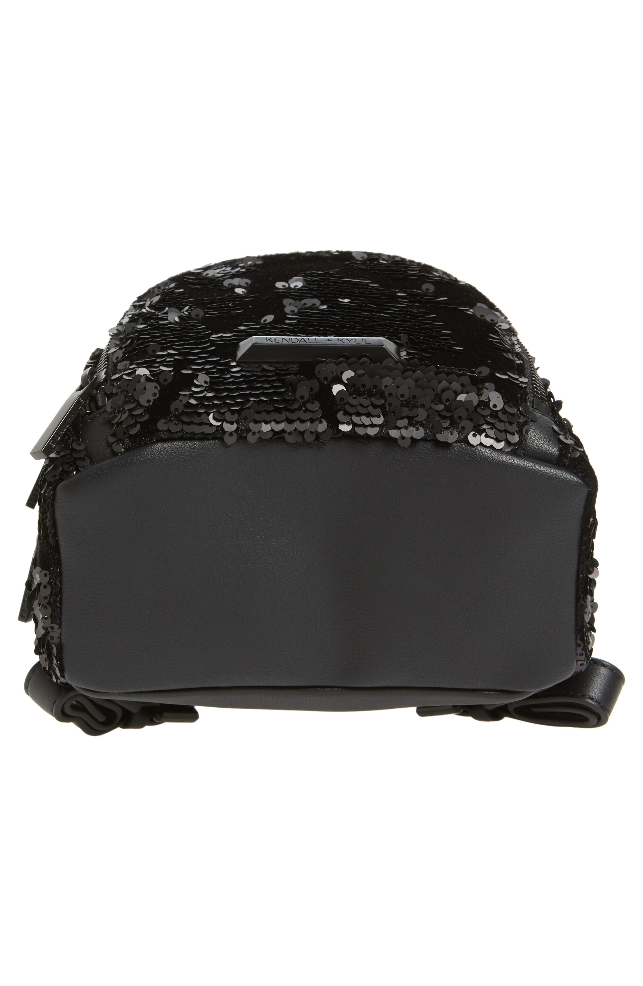 Mini Sloane Velvet & Sequin Backpack,                             Alternate thumbnail 4, color,                             Black Sequins