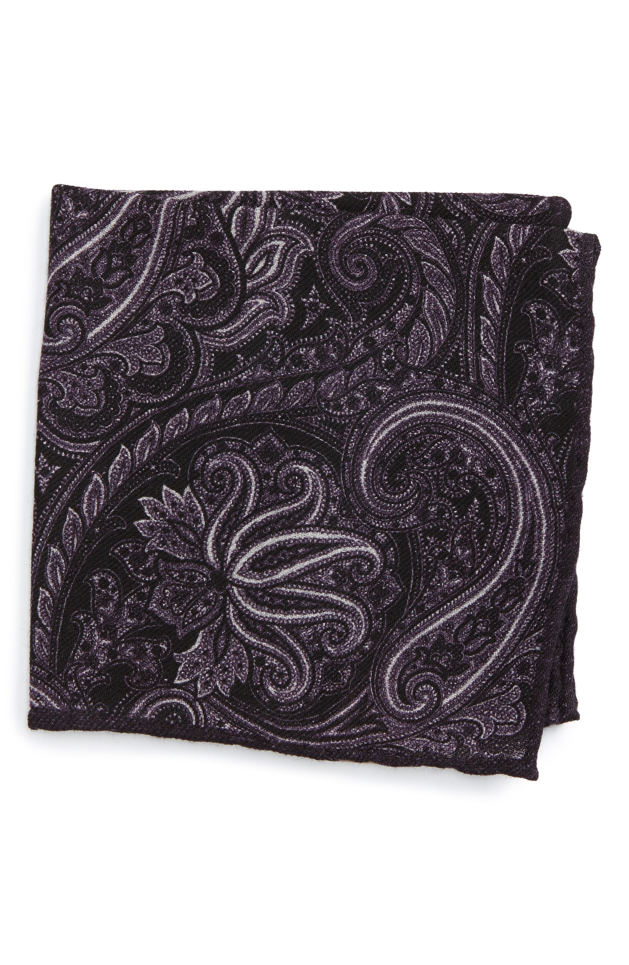 Paisley Wool Pocket Square,                         Main,                         color, Purple