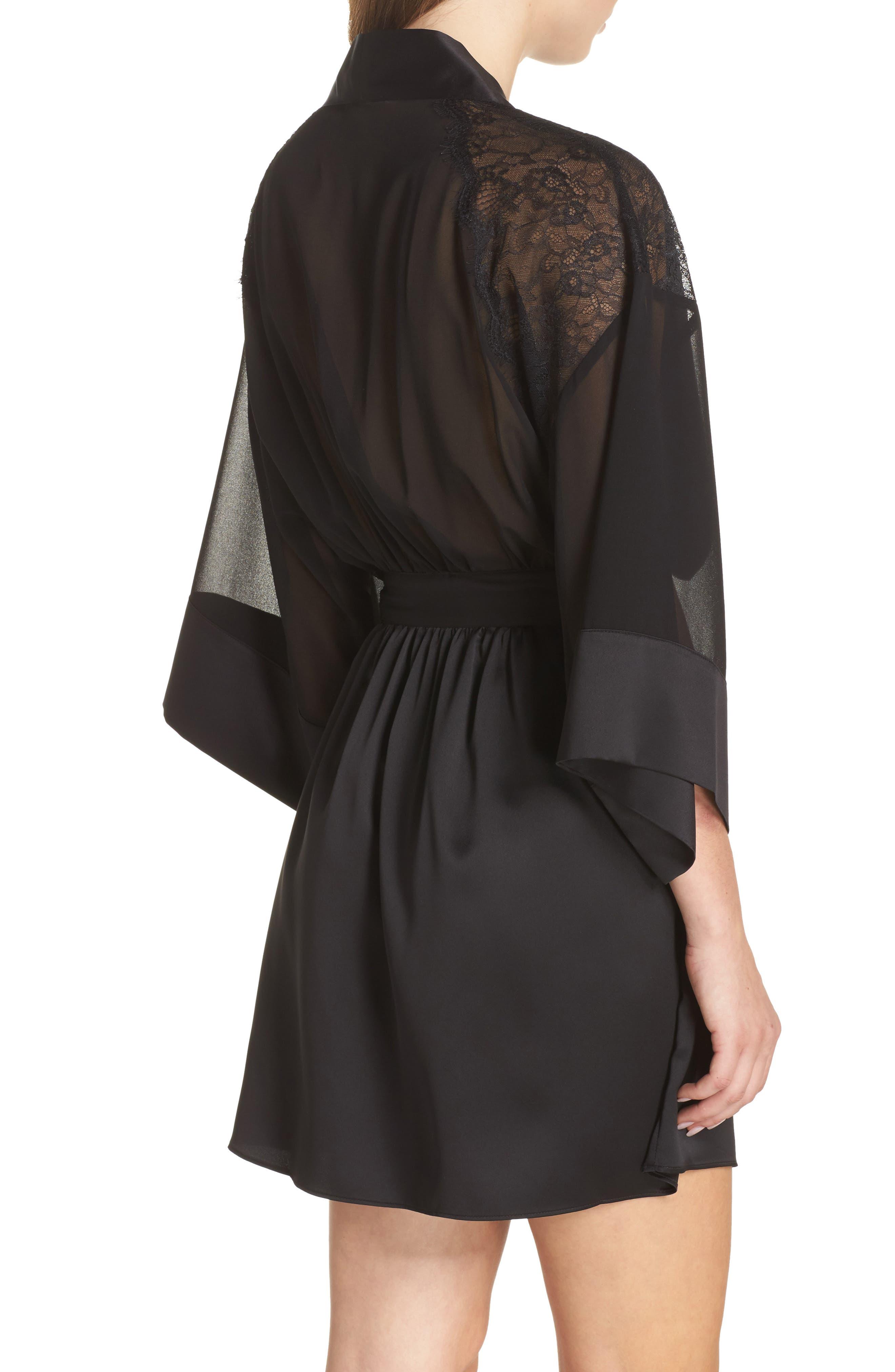 Margot Kimono Robe,                             Alternate thumbnail 2, color,                             Black