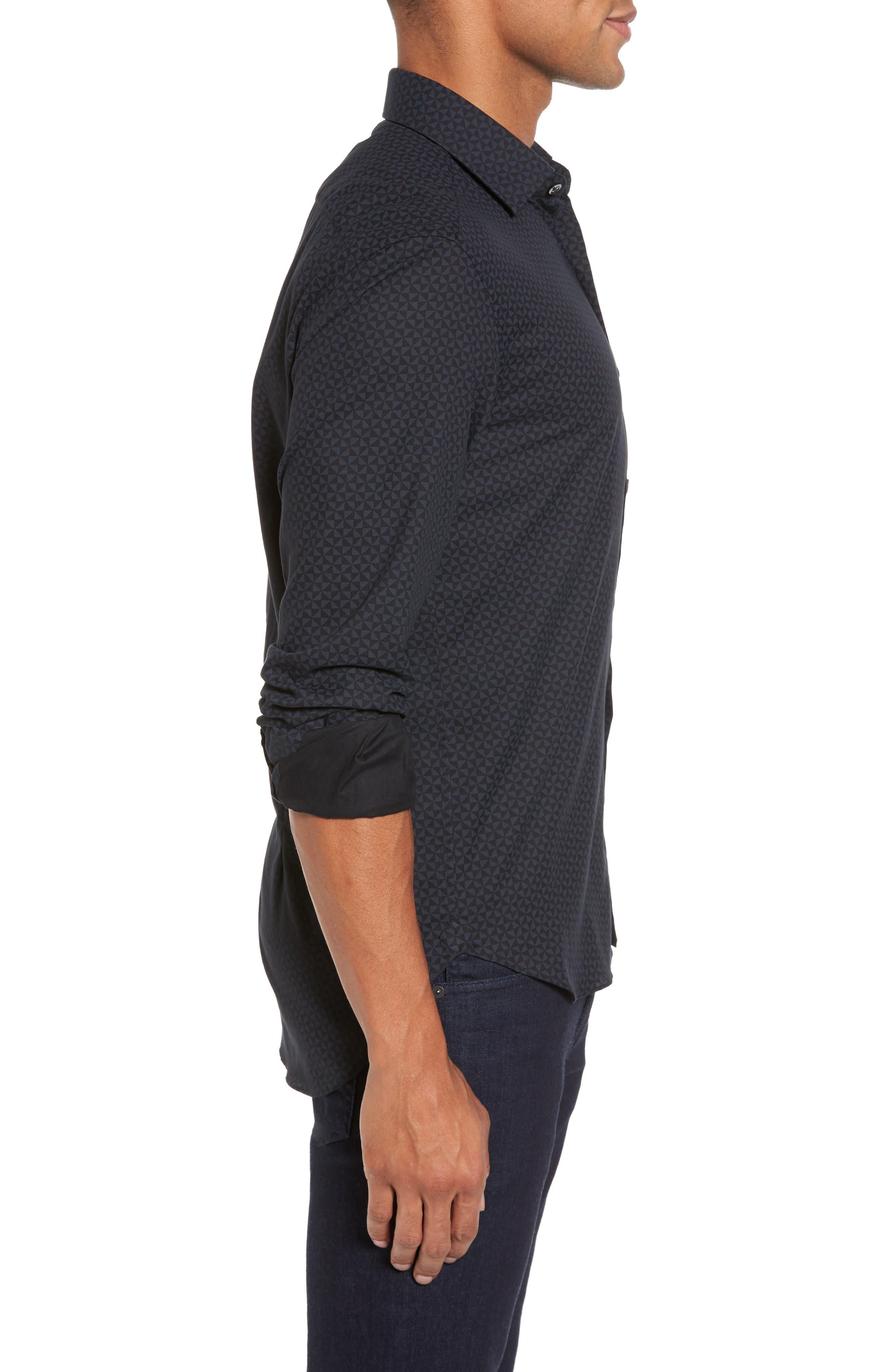 Slim Fit Geo Print Twill Sport Shirt,                             Alternate thumbnail 3, color,                             Black