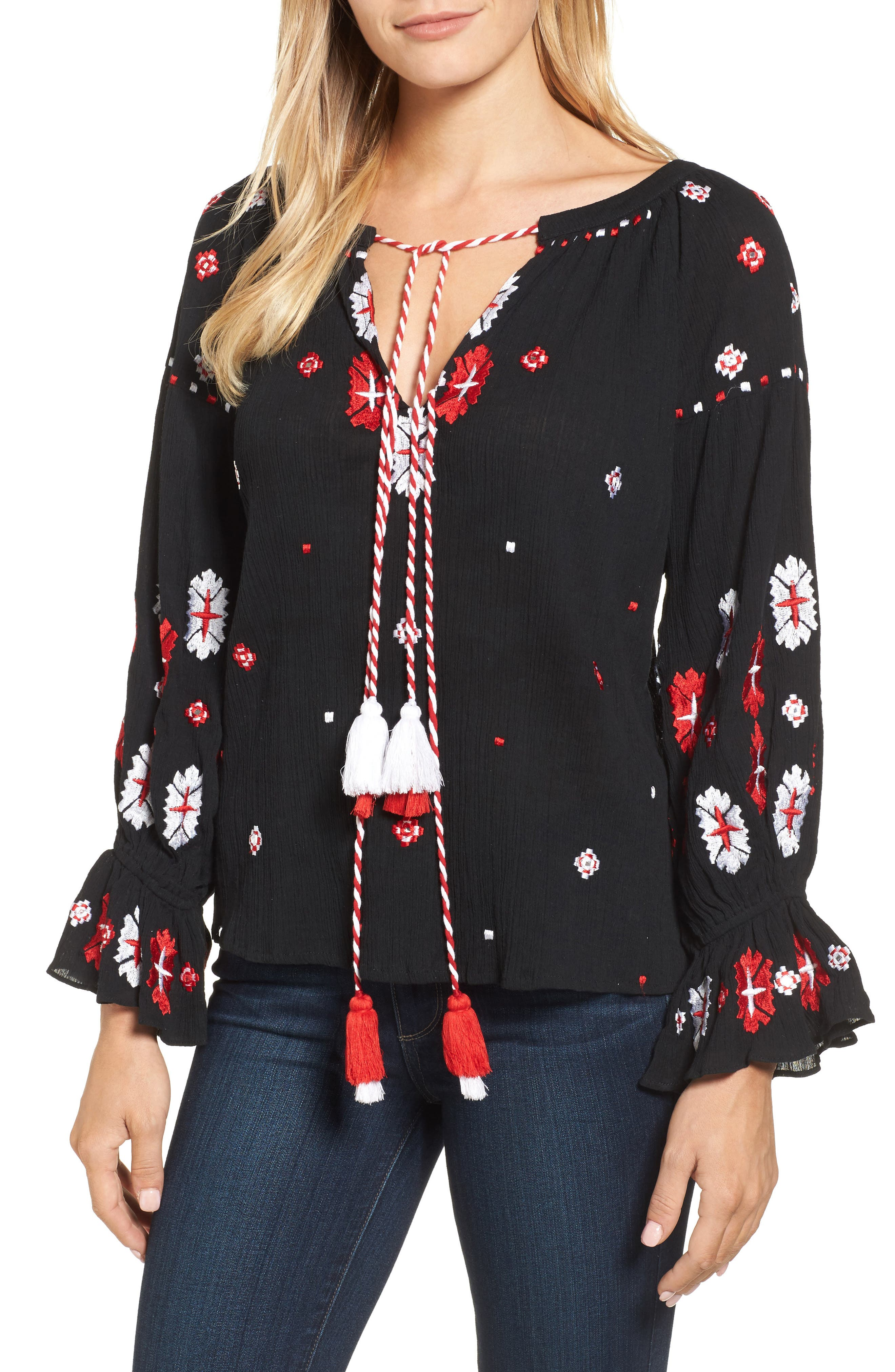 Myra Hand Embroidered Blouse,                         Main,                         color, Black