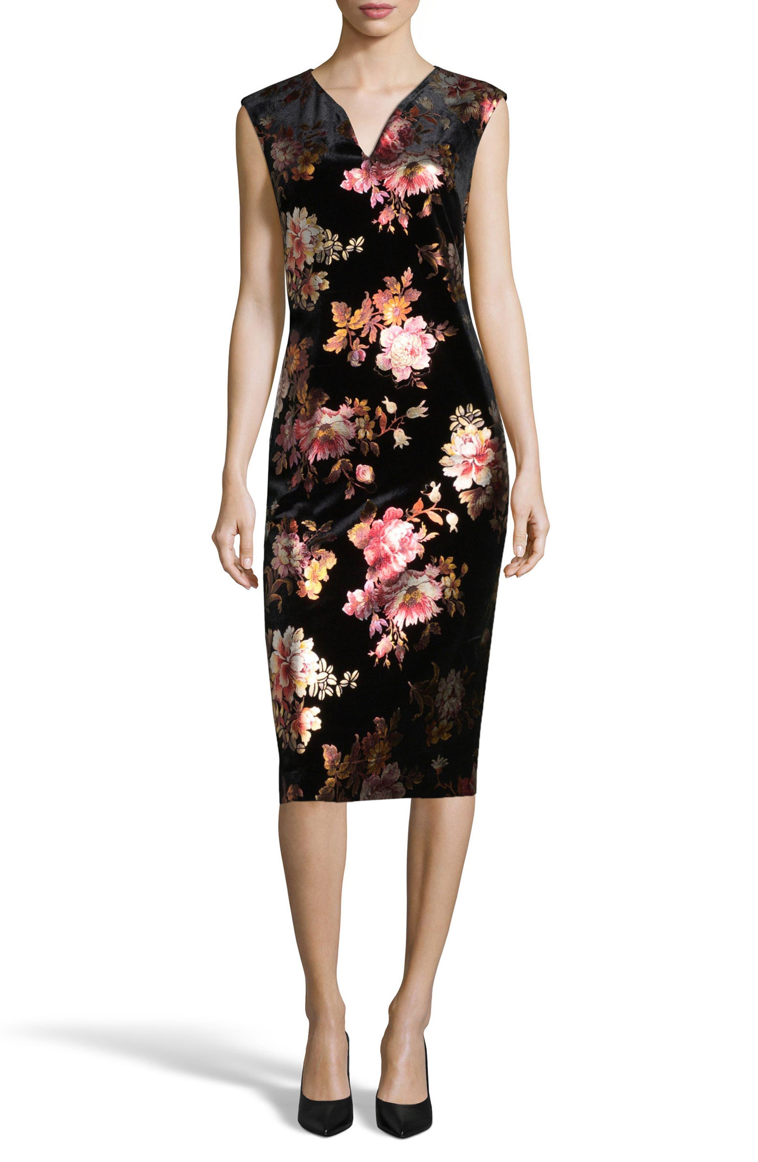 Floral Velvet Sheath Dress,                         Main,                         color, Black/ Pink