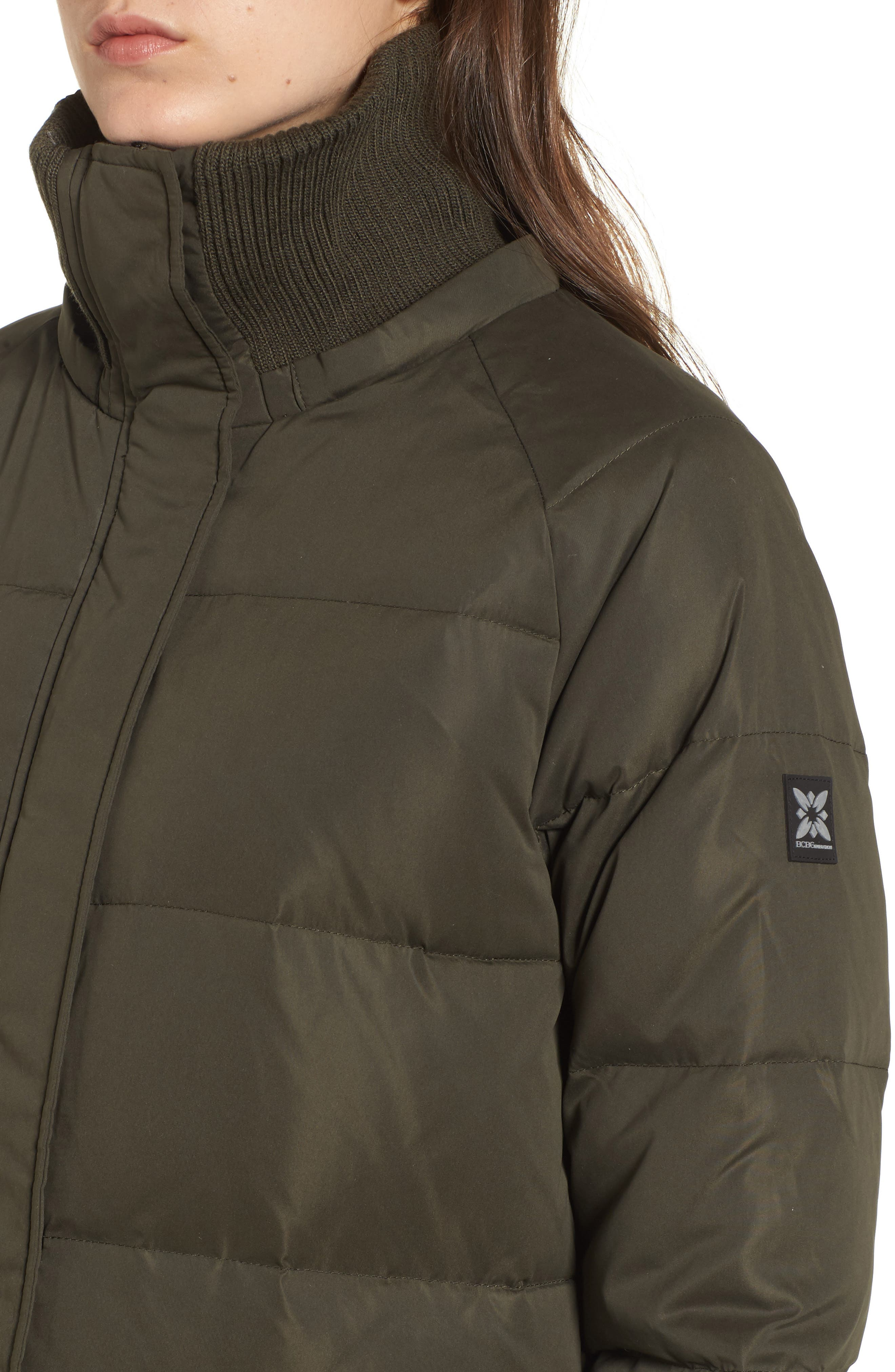 Down & Feather Fill Puffer Jacket,                             Alternate thumbnail 3, color,                             Army