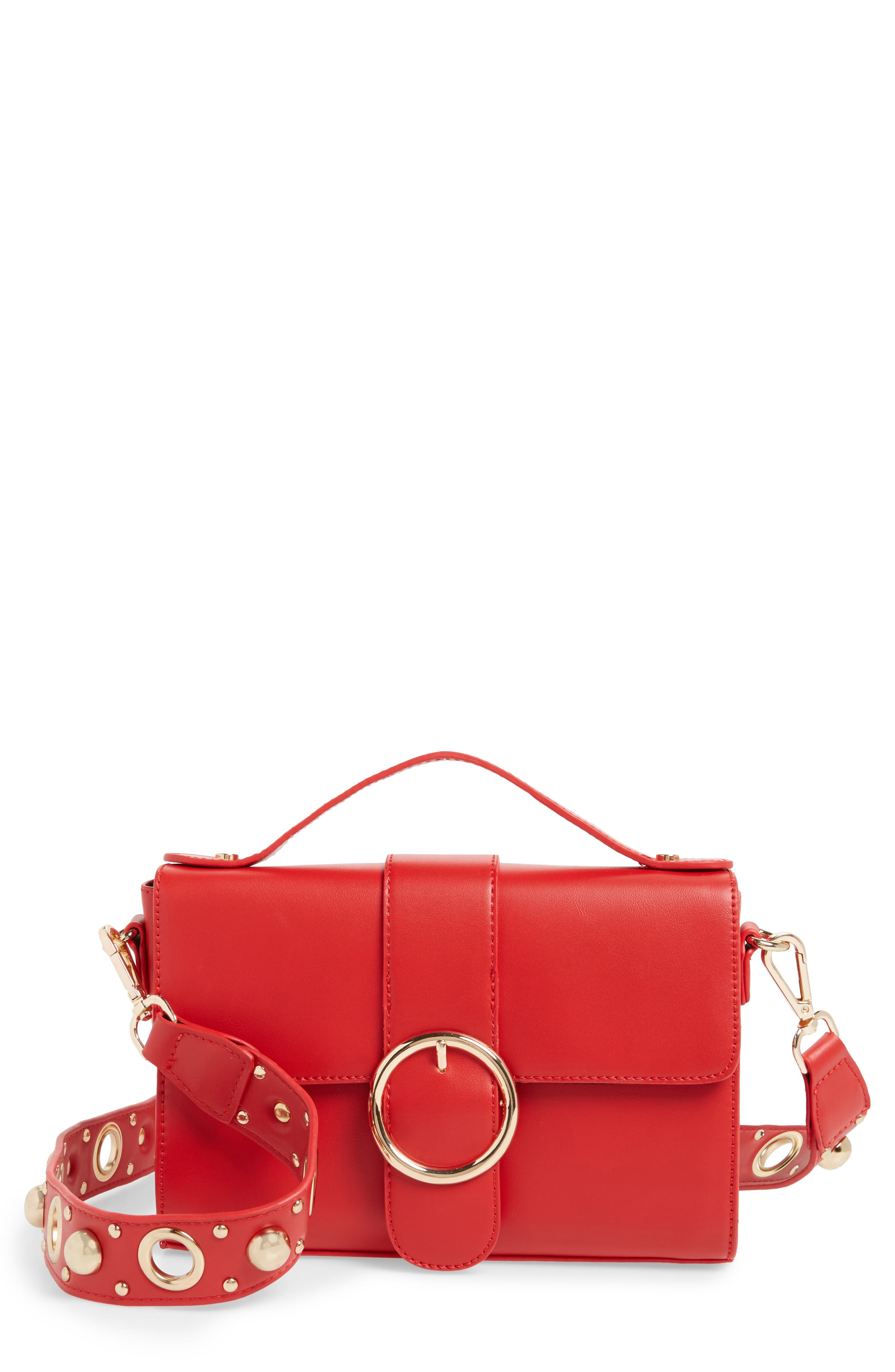 Main Image - Street Level Studded Strap Crossbody Bag