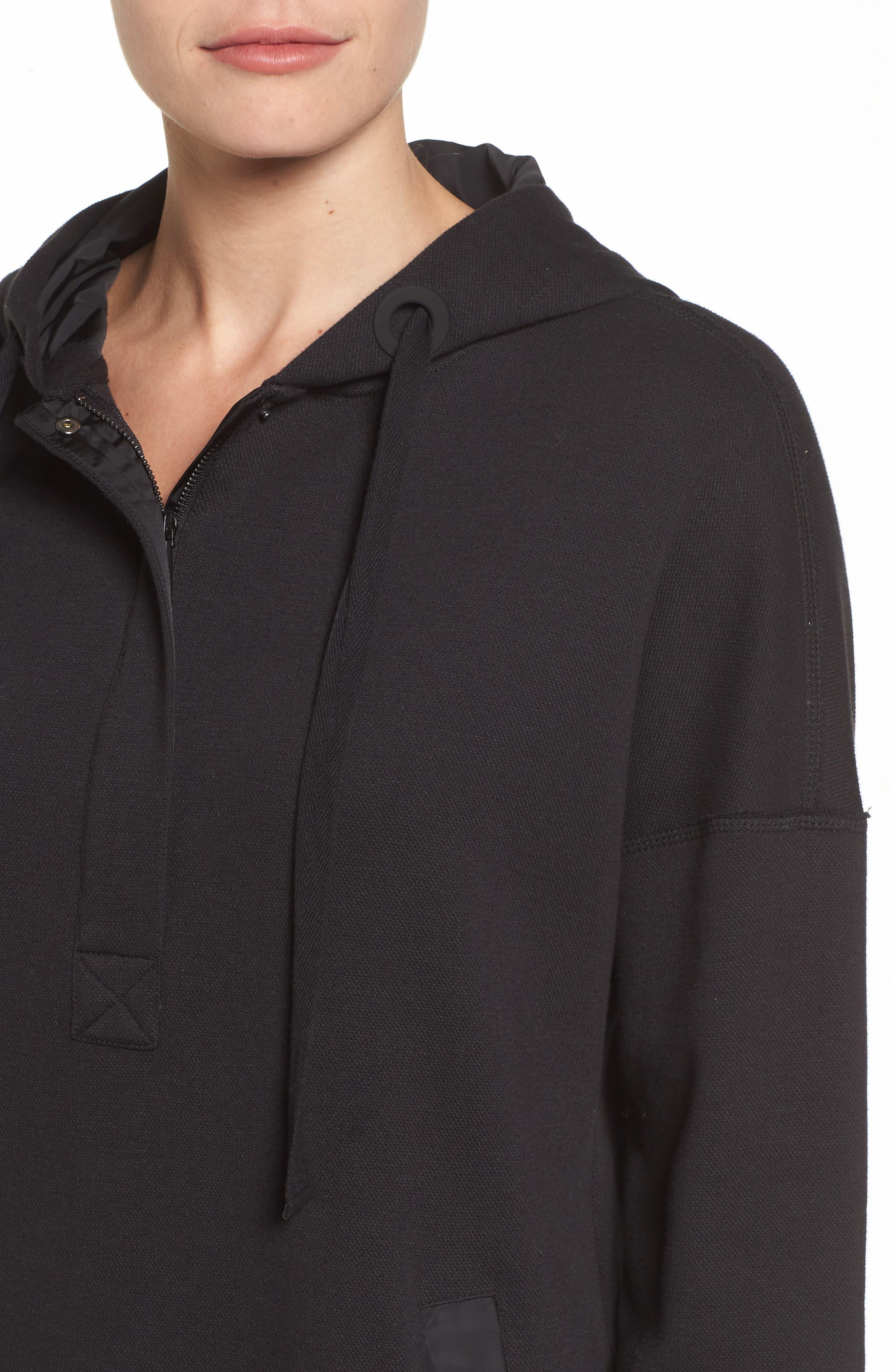 Hoodie Dress,                             Alternate thumbnail 4, color,                             Black