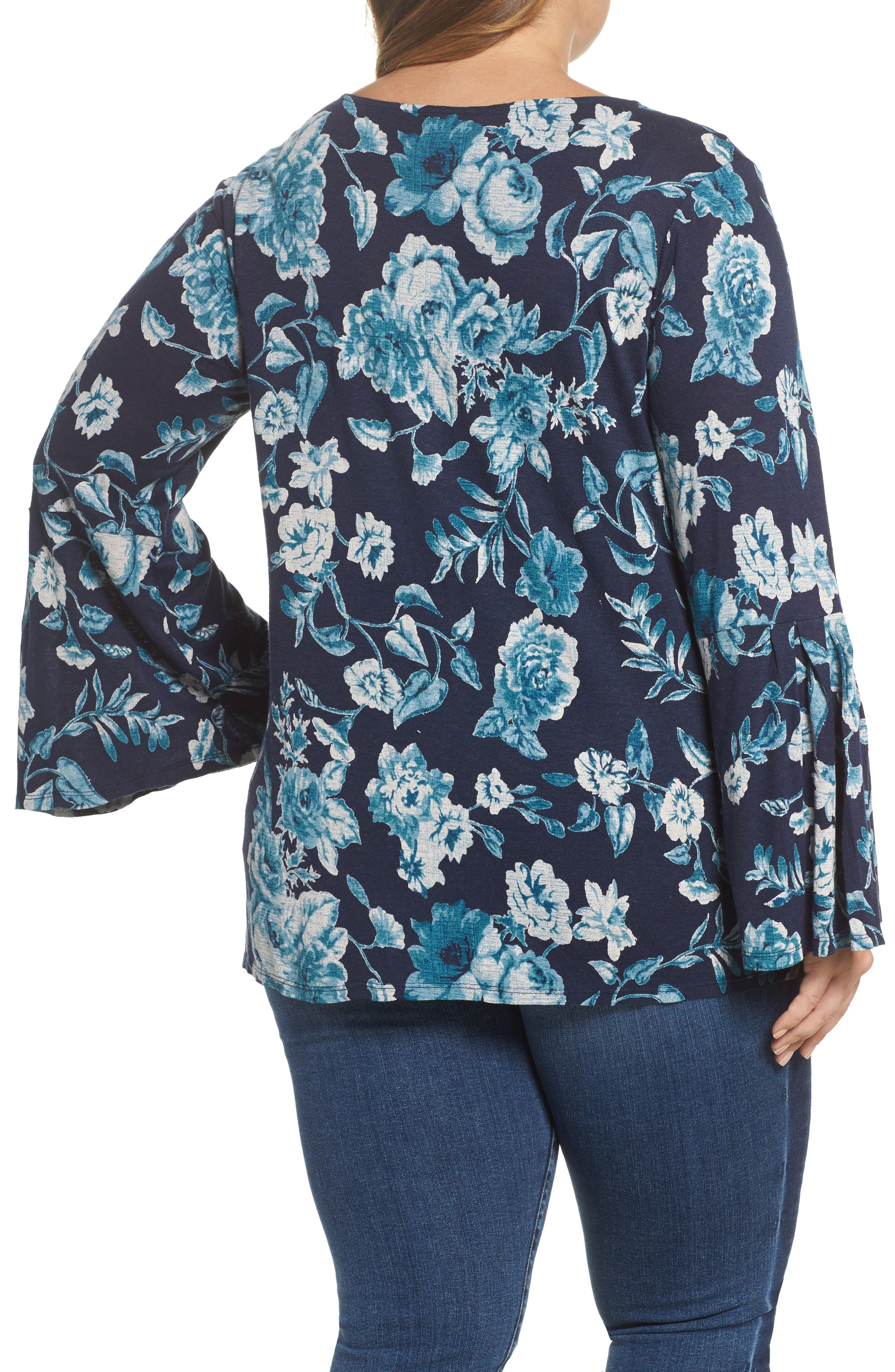 Alternate Image 2  - Lucky Brand Encinitas Bell Sleeve Floral Top (Plus Size)