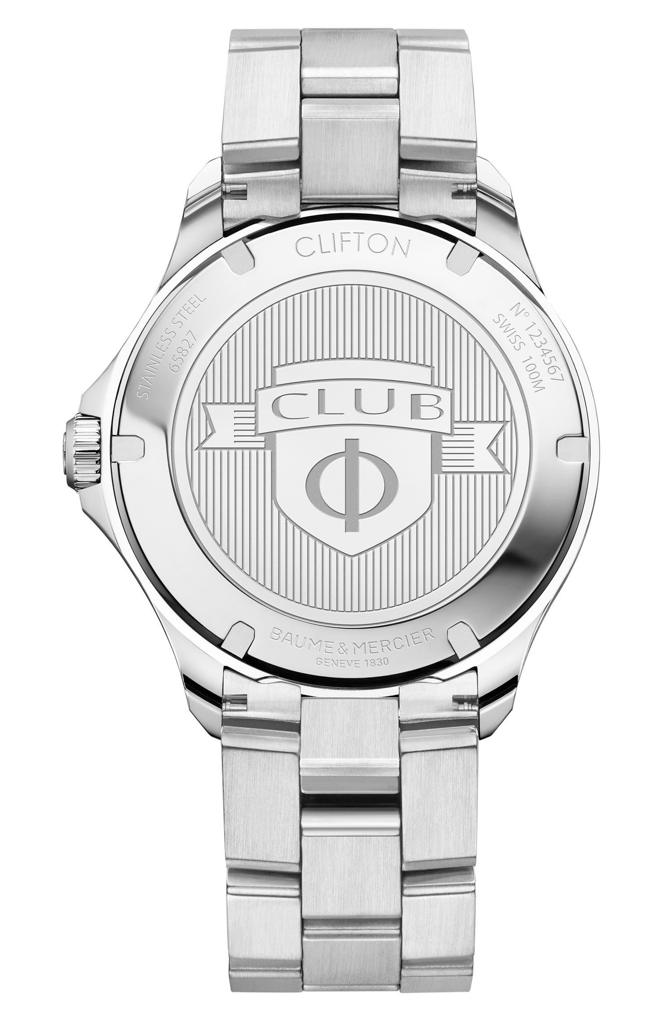 Baume & Mercier Clifton Automatic Bracelet Watch, 42mm,                             Alternate thumbnail 2, color,                             Blue/ Silver