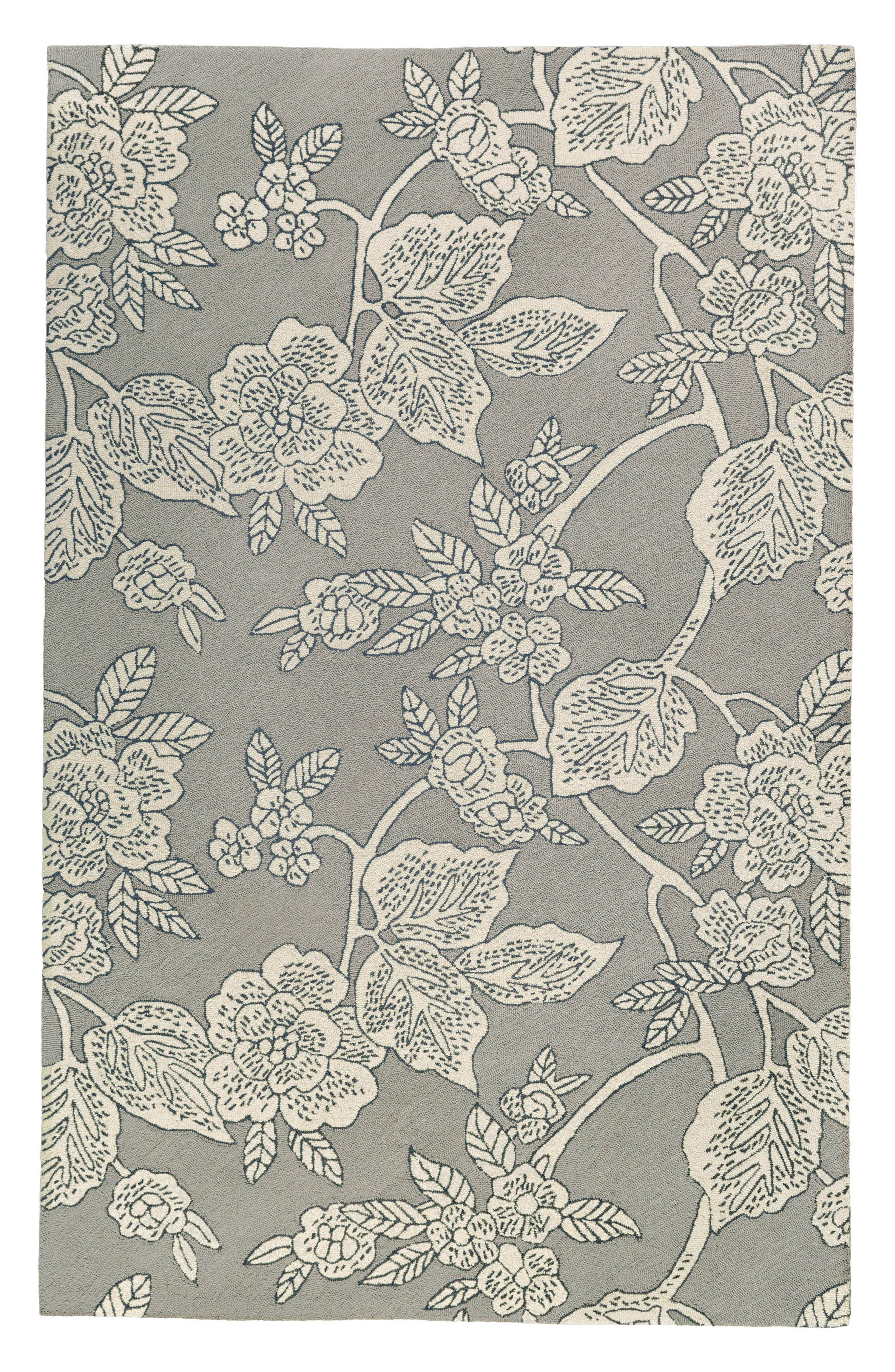 Micro Hooked Wool Rug,                             Main thumbnail 1, color,                             Grey
