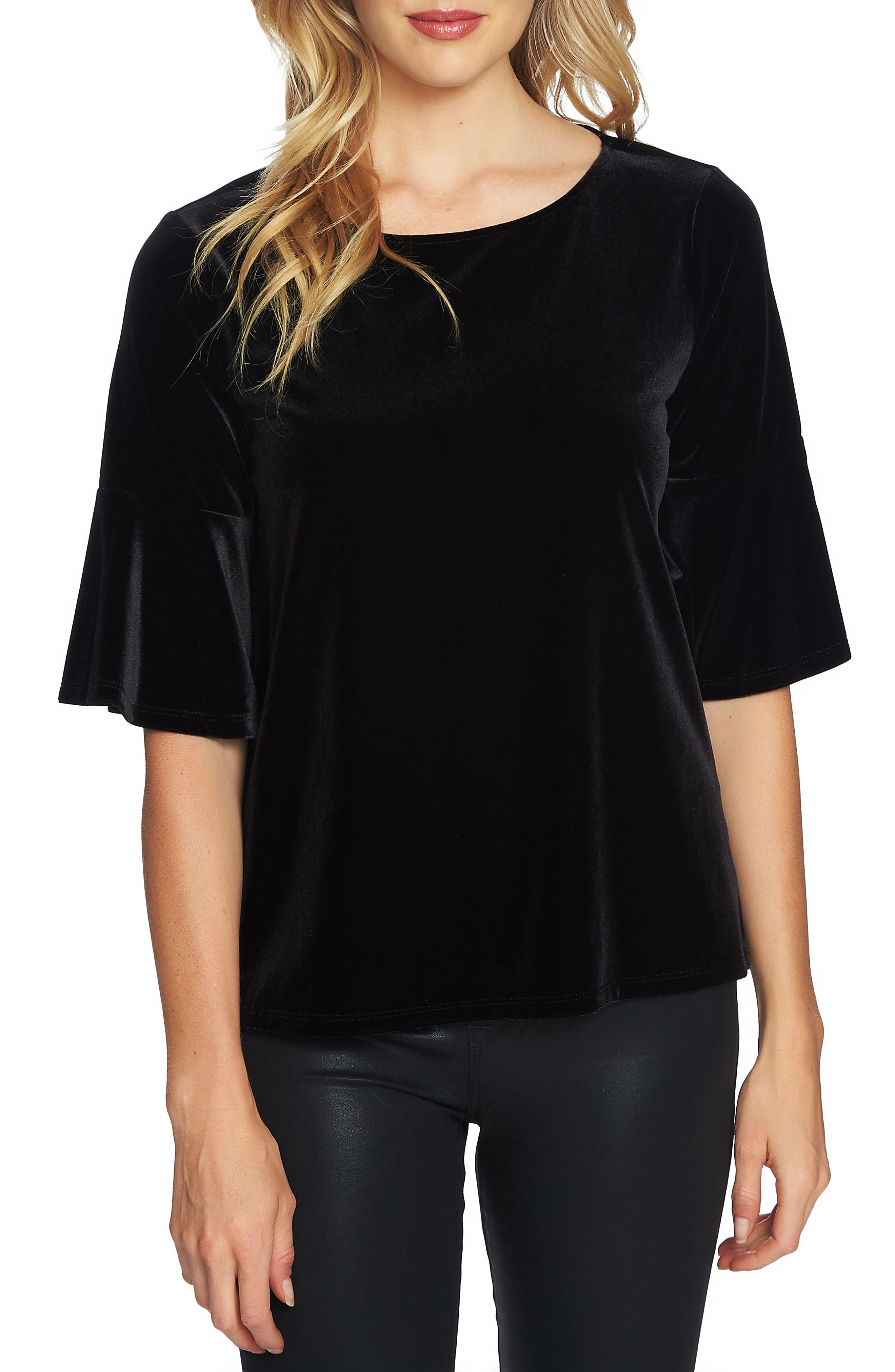 Bell Sleeve Velvet Top,                             Main thumbnail 1, color,                             Rich Black