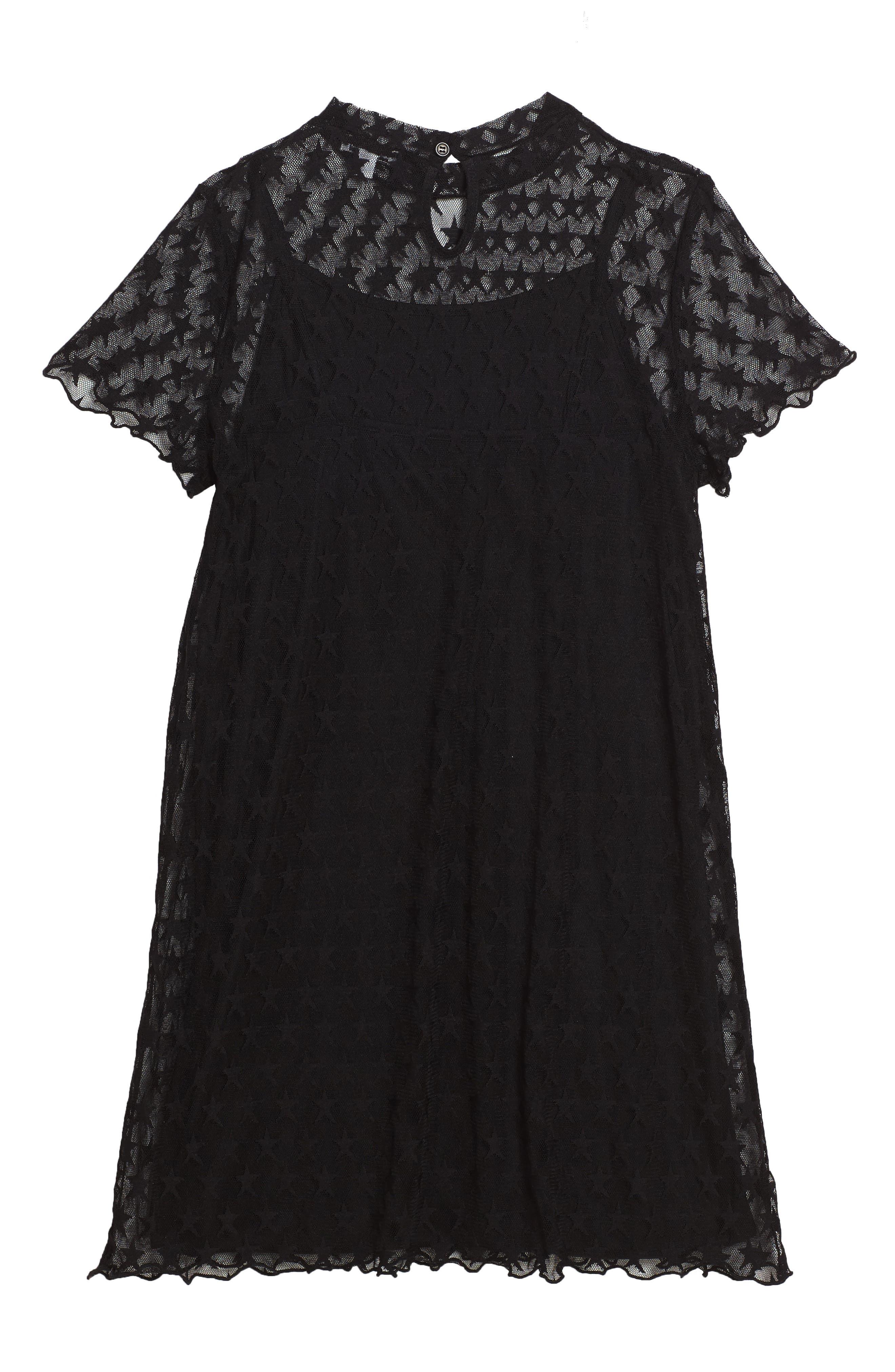Star Mesh Dress,                             Alternate thumbnail 2, color,                             Black