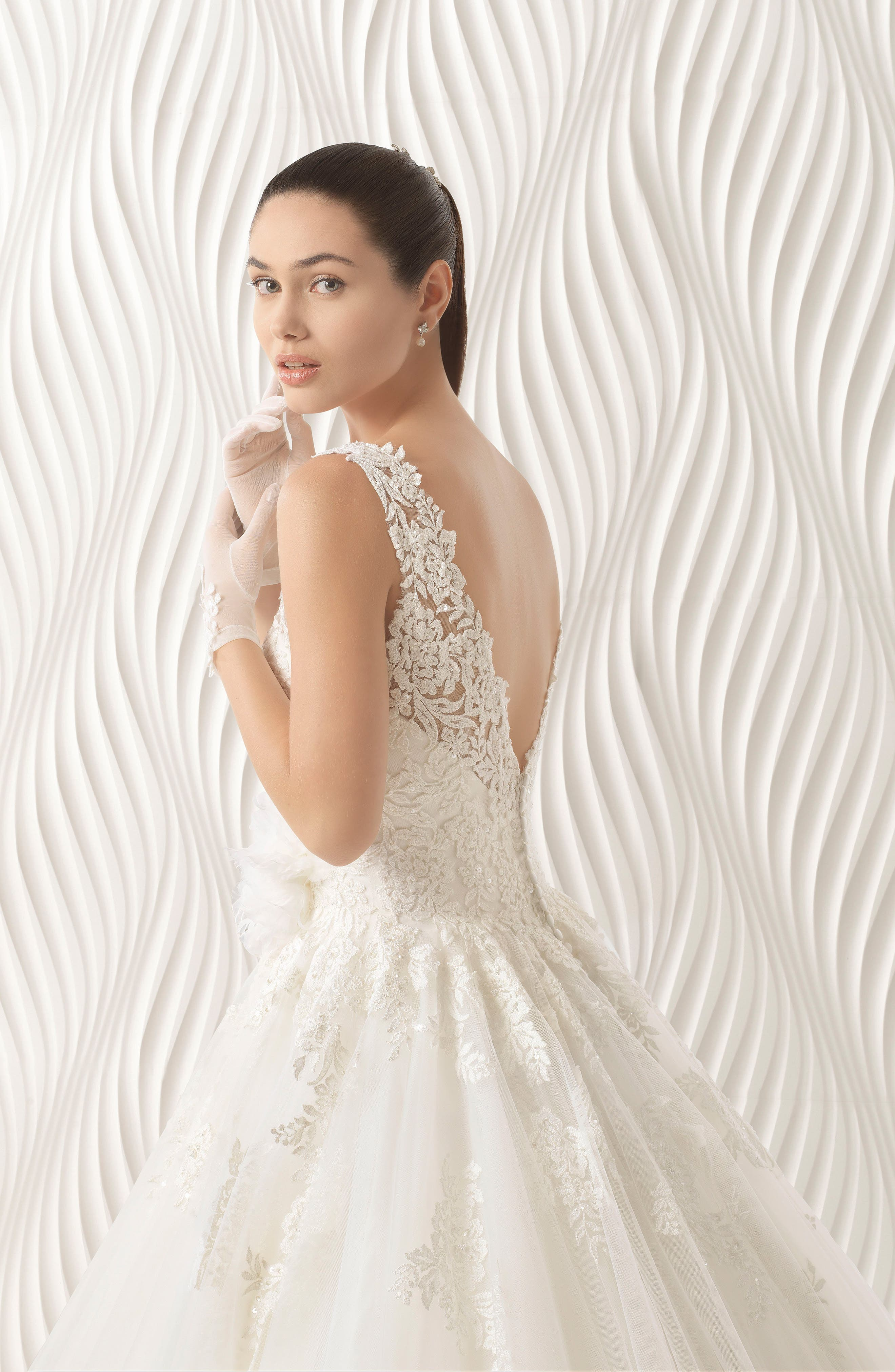 Octubre Lace & Tulle Ballgown,                             Alternate thumbnail 3, color,                             Natural