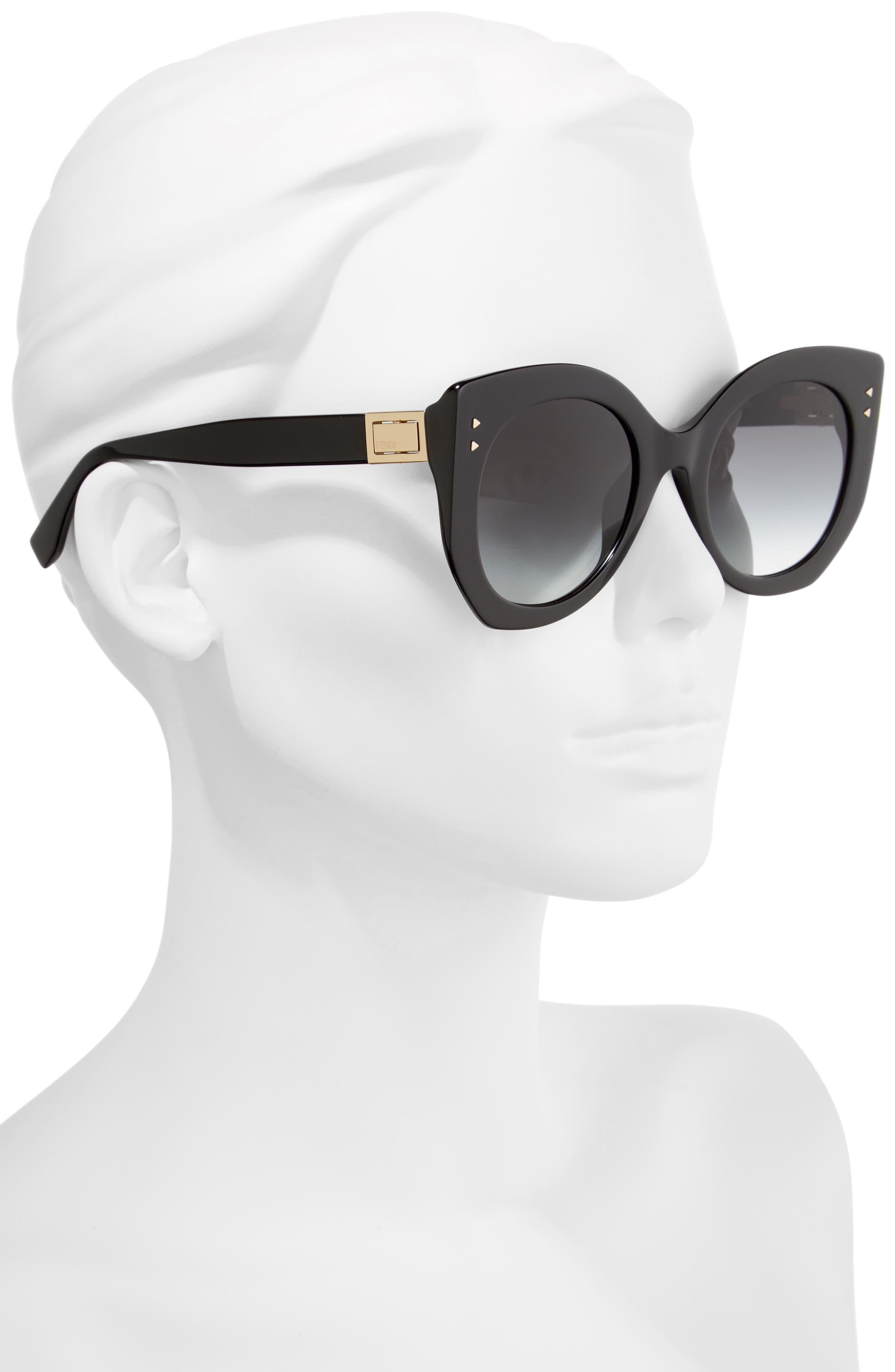 52mm Butterfly Sunglasses,                             Alternate thumbnail 2, color,                             Black