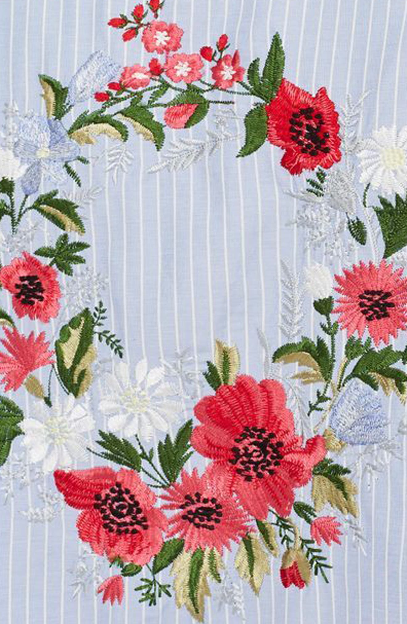 Floral Embroidered Stripe Nightshirt,                             Alternate thumbnail 4, color,                             Blue Multi