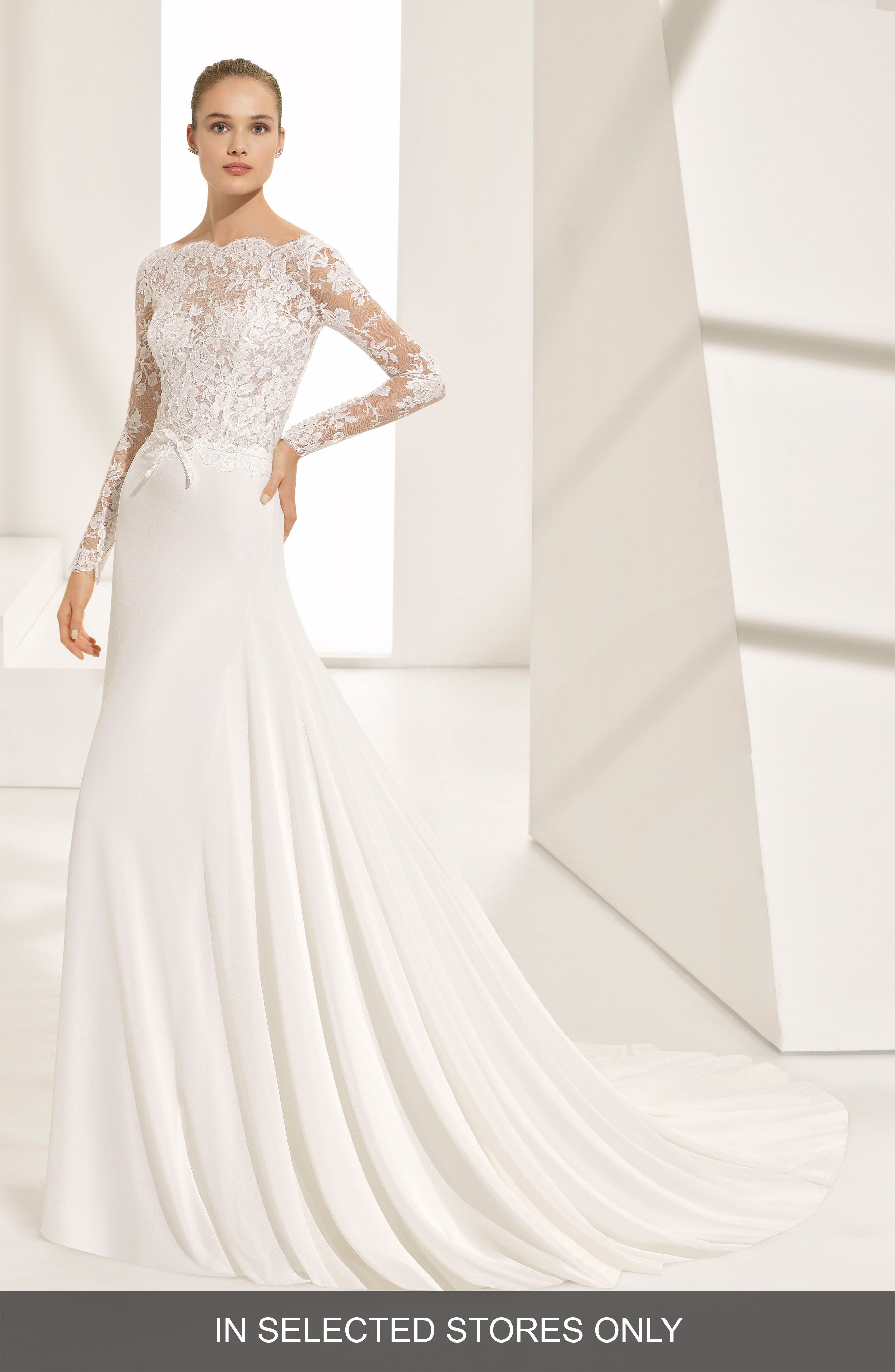 Pascal Lace & Crepe A-Line Gown,                         Main,                         color, Natural