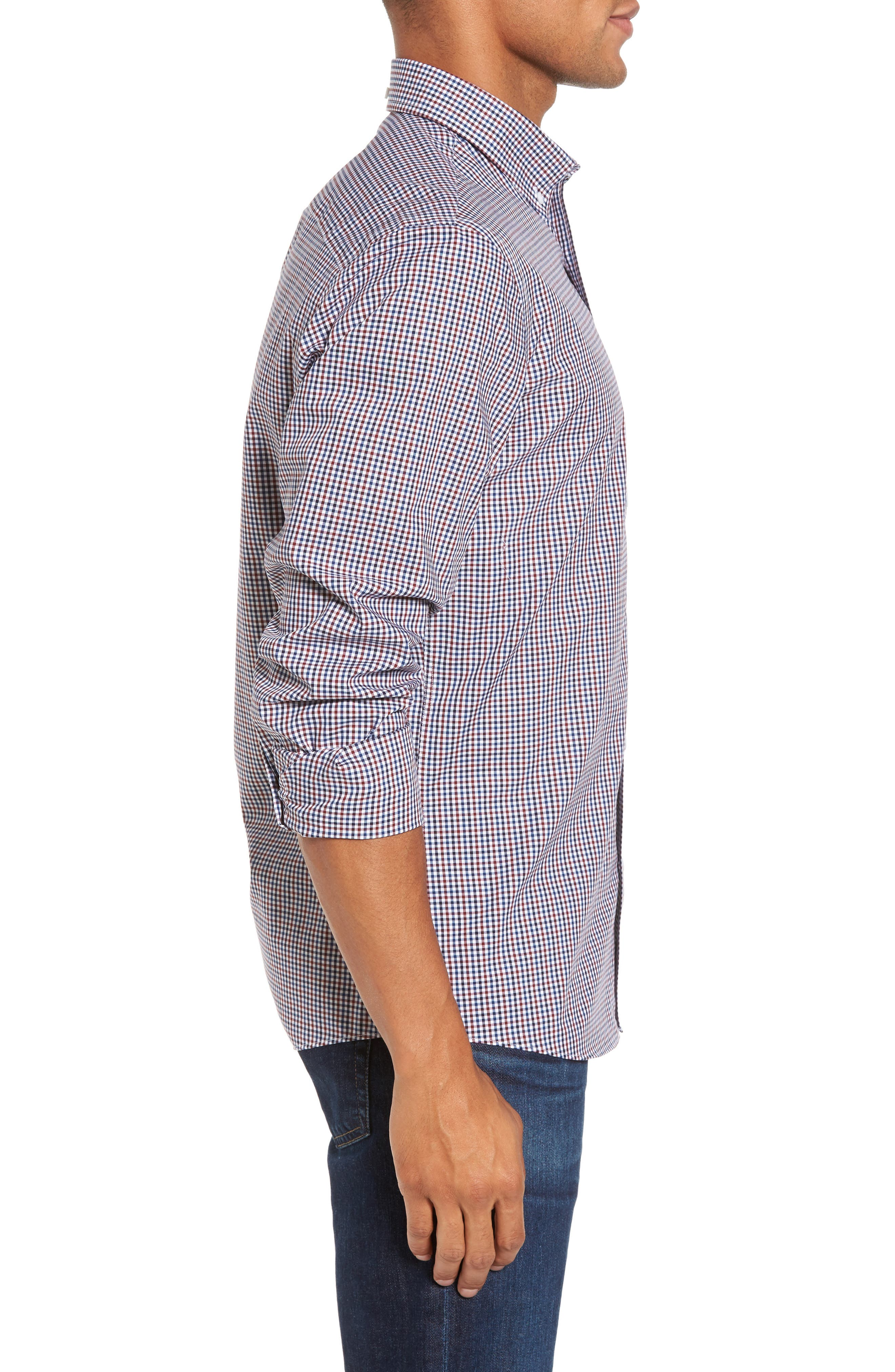Spade Trim Fit Non-Iron Mini Check Sport Shirt,                             Alternate thumbnail 3, color,                             White Red Mini Check