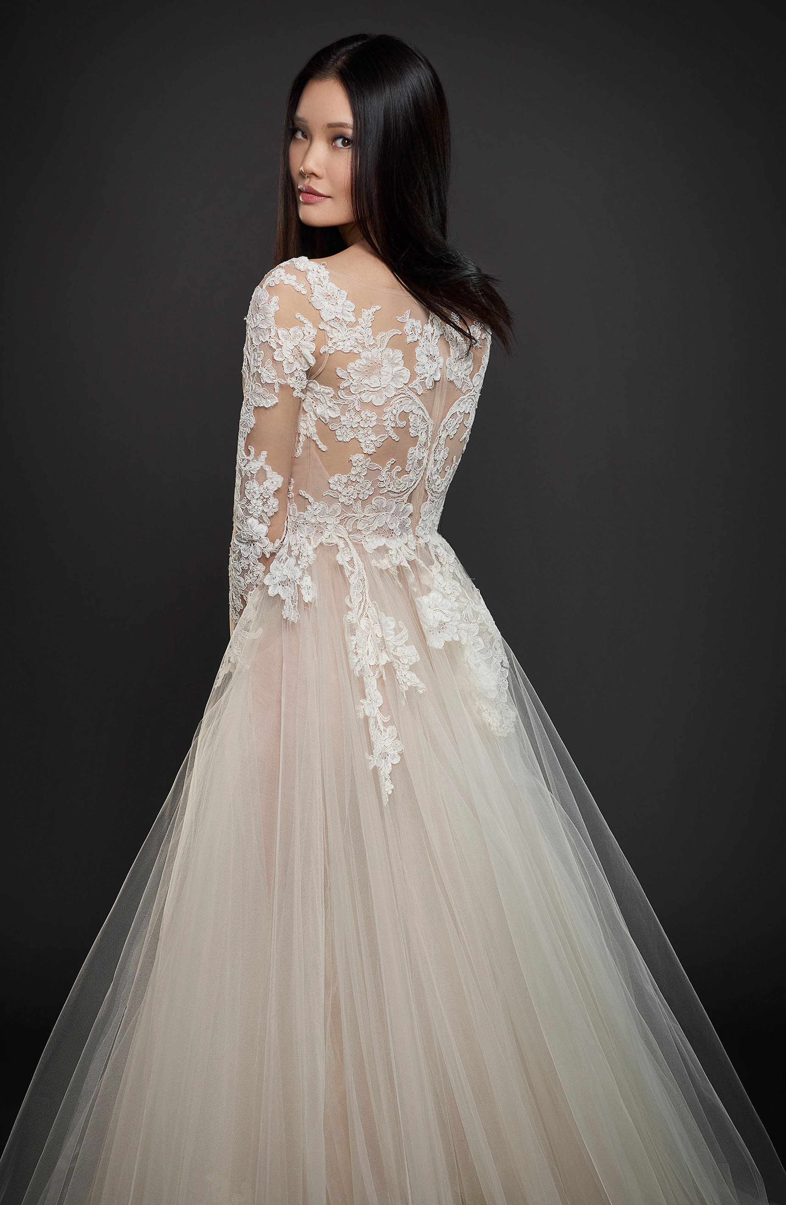Long Sleeve Lace & Organza Ballgown,                             Alternate thumbnail 2, color,                             Ivory