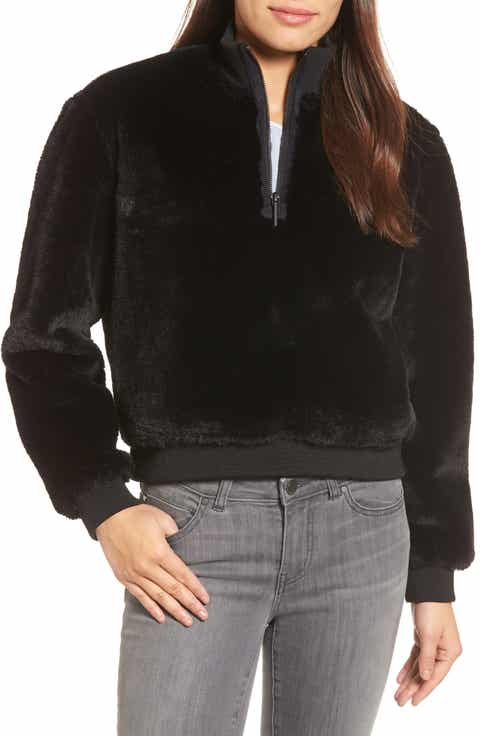 Kenneth Cole New York Half-Zip Faux Fur Sweatshirt