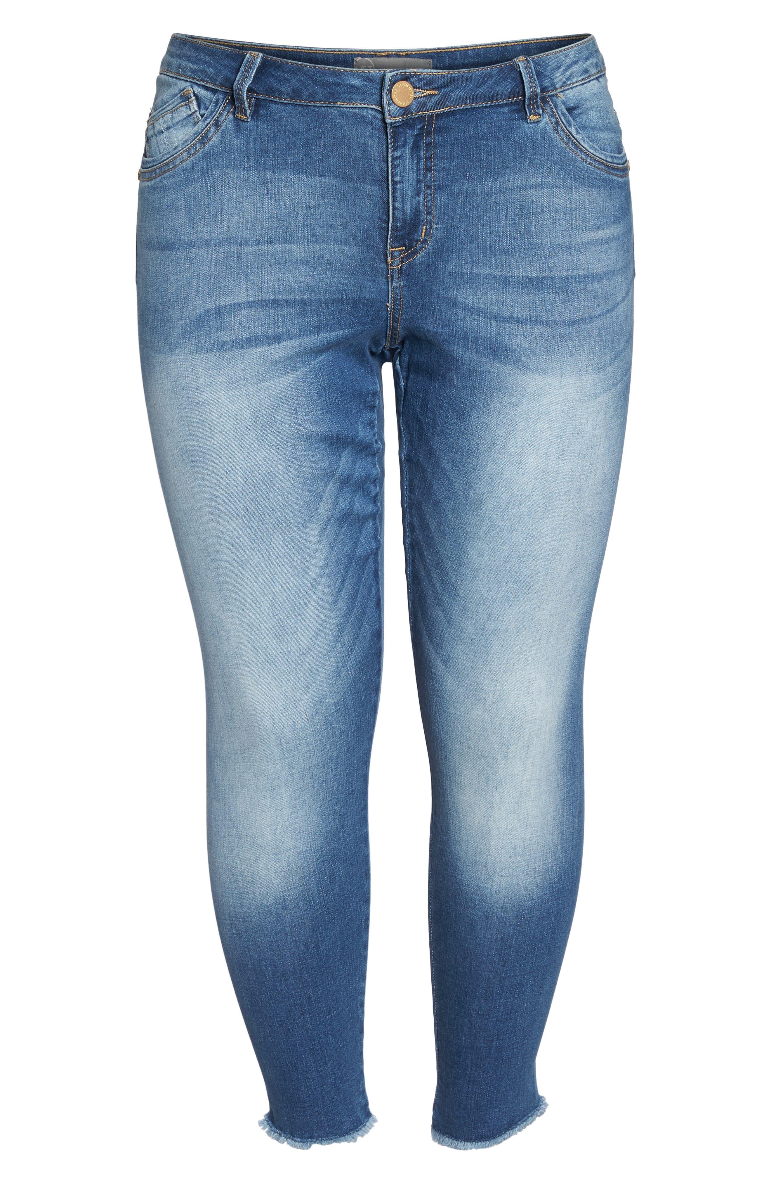 Alternate Image 6  - Wit & Wisdom Frayed Hem Skinny Jeans (Plus Size) (Nordstrom Exclusive)