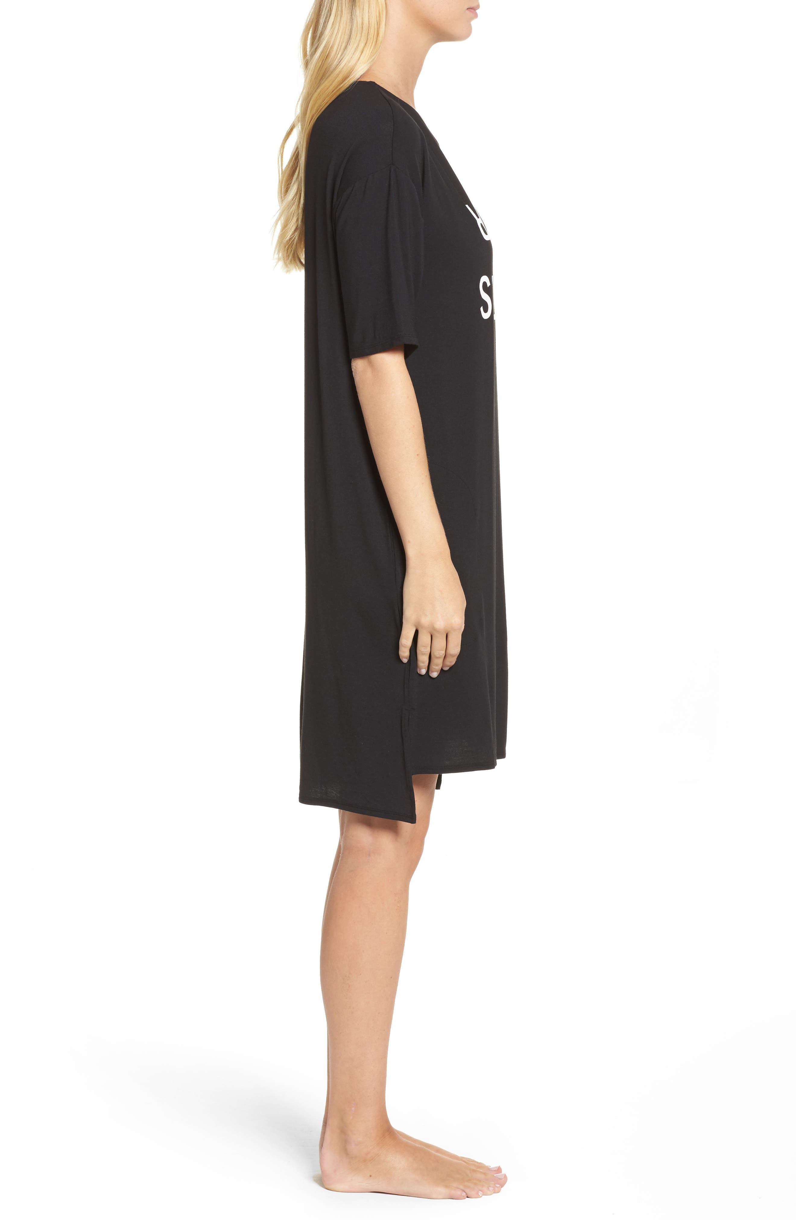 Jersey Sleep Shirt,                             Alternate thumbnail 3, color,                             Black Print