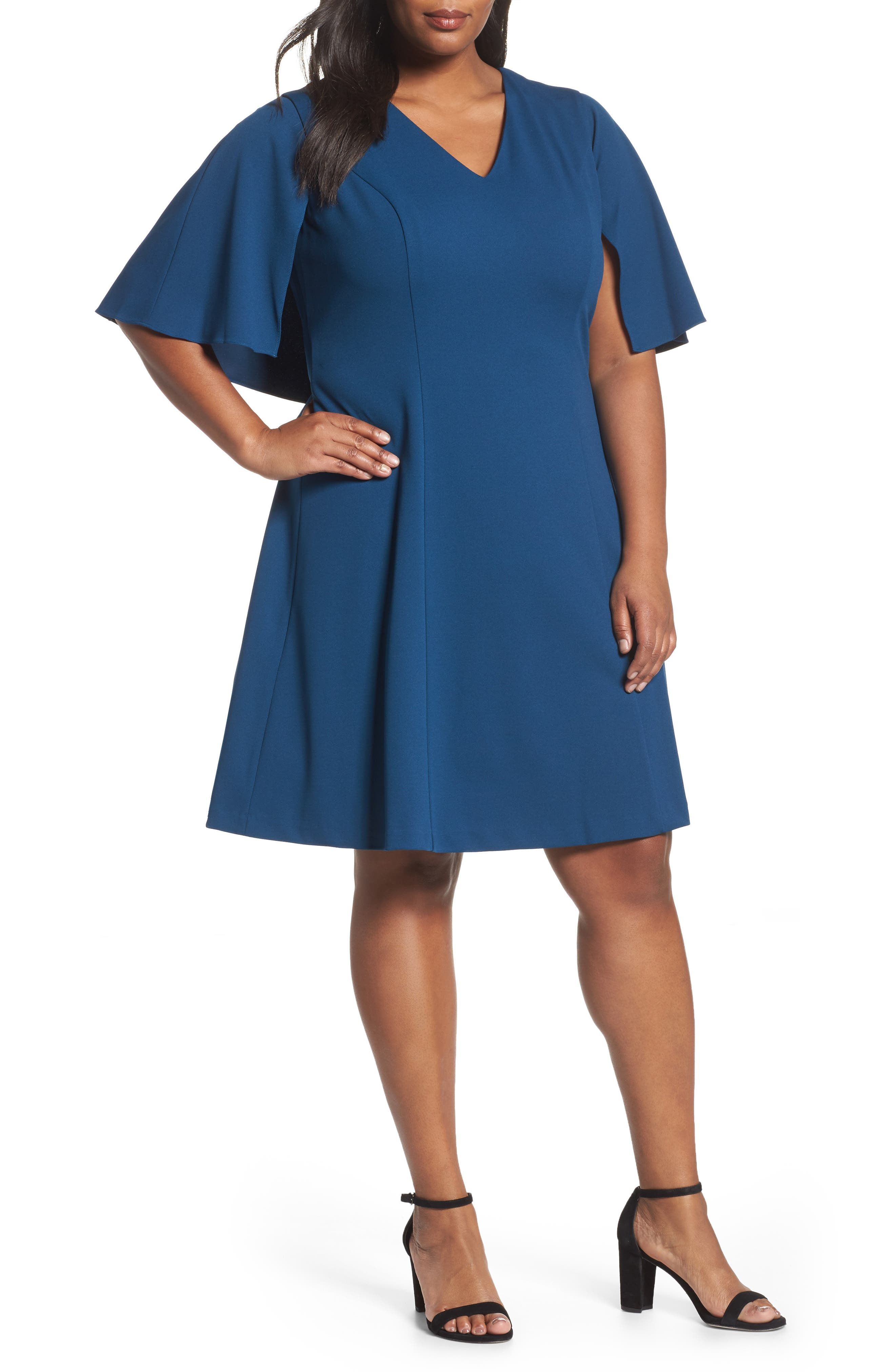 Main Image - Adrianna Papell Capelet A-Line Dress (Plus Size)