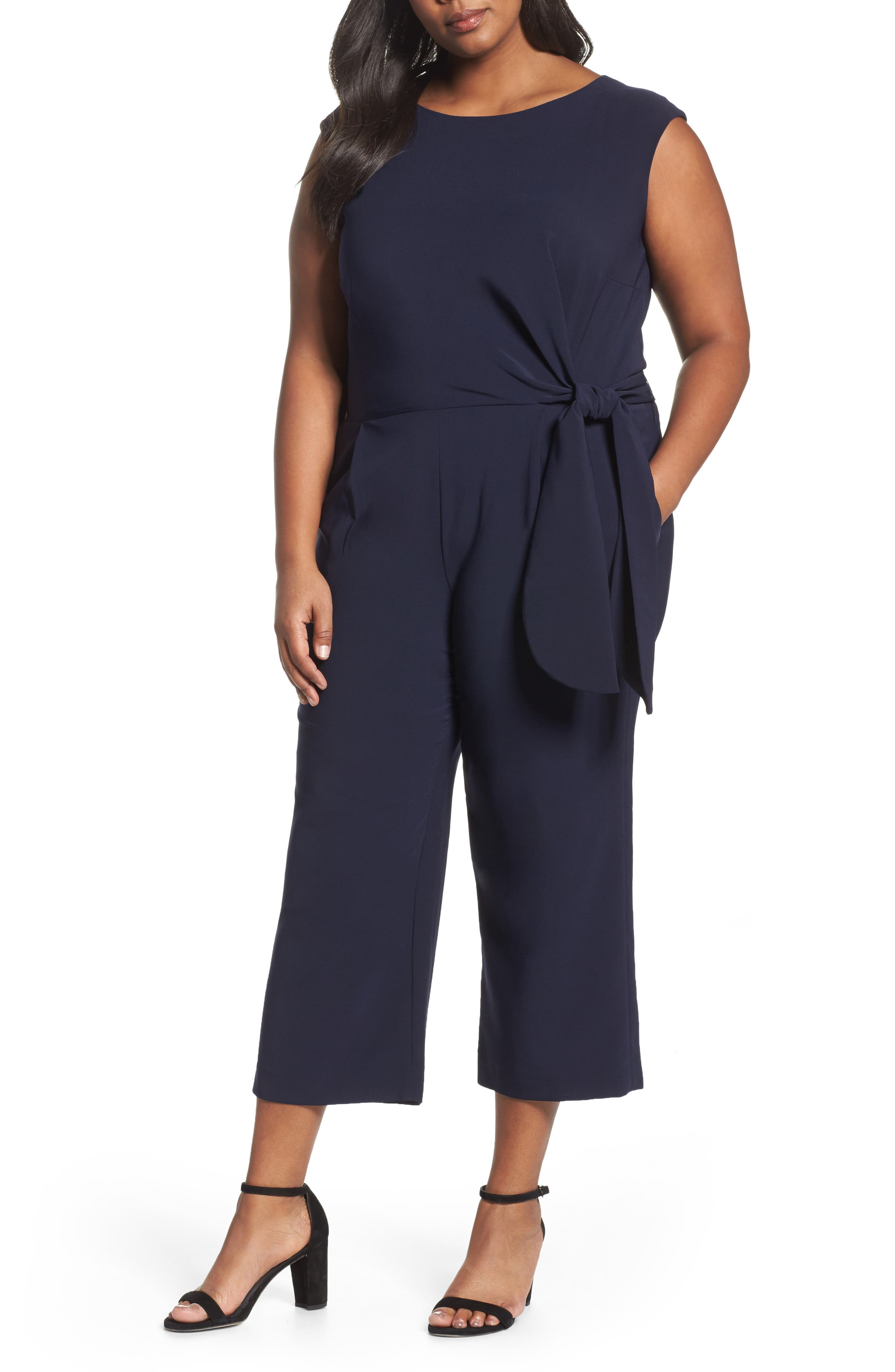 Alternate Image 1 Selected - Tahari Wide Leg Crop Jumpsuit (Plus Size)