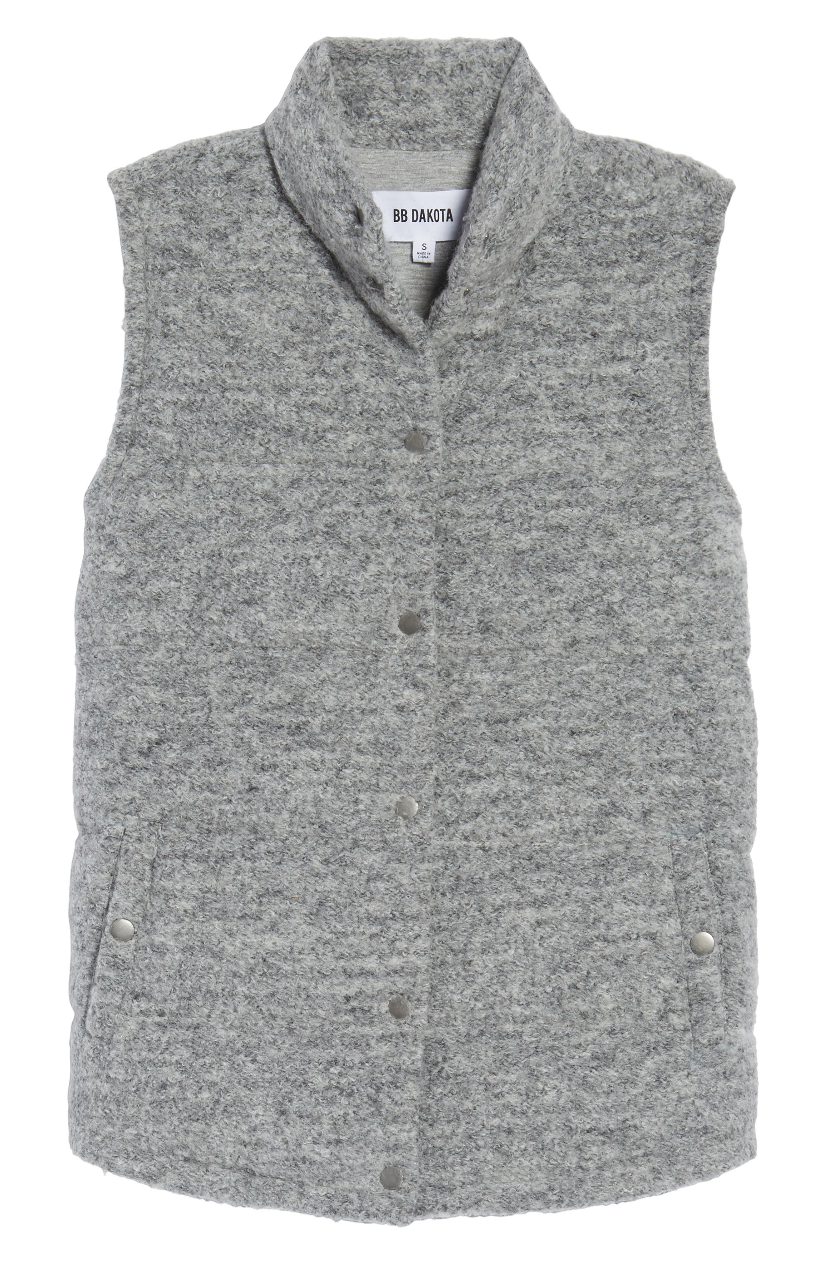 Aderyn Knit Puffer Vest,                             Alternate thumbnail 5, color,                             Heather Grey