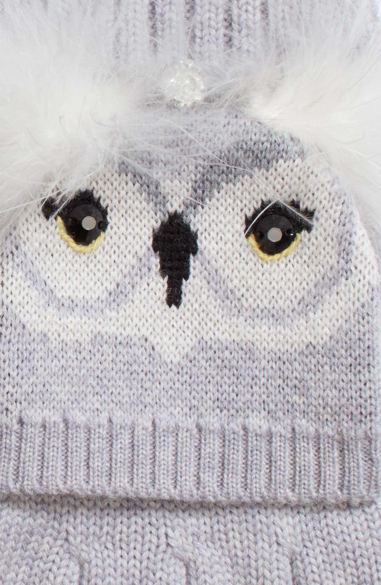 who me owl merino wool pop-top mittens,                             Alternate thumbnail 2, color,                             Heather Grey