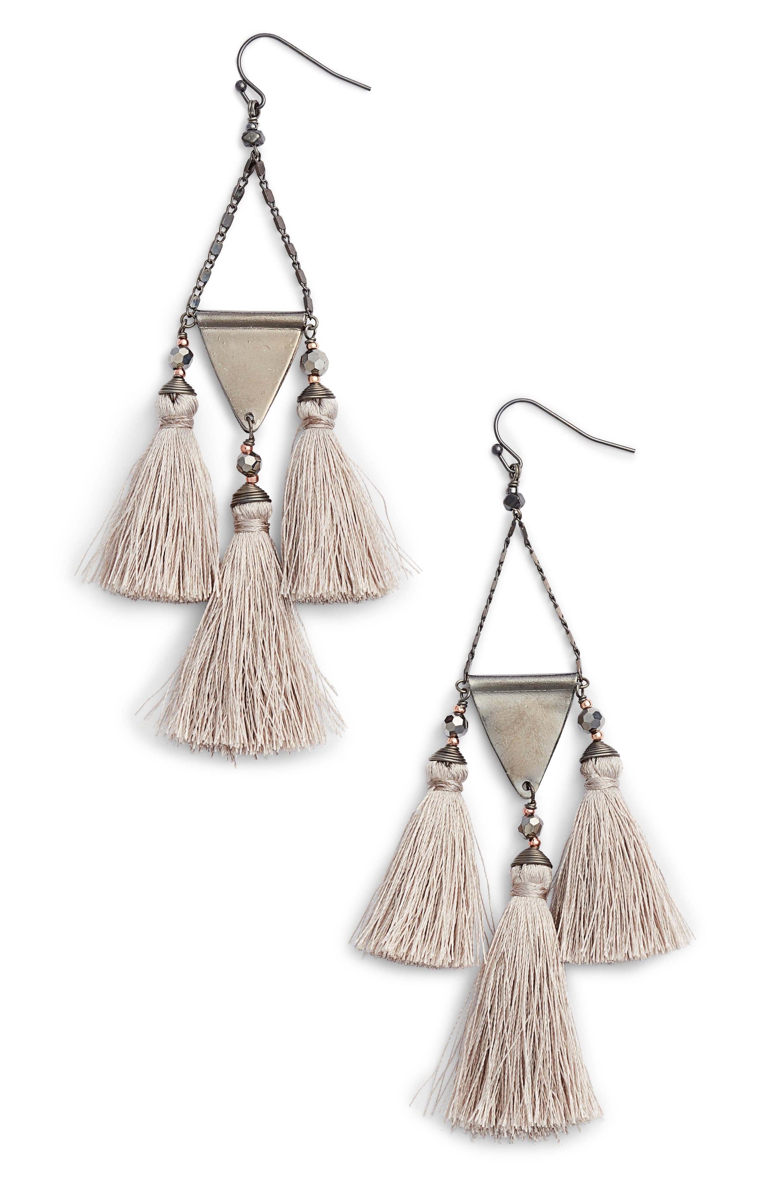 Nakamol Design Tassel Statement Earrings