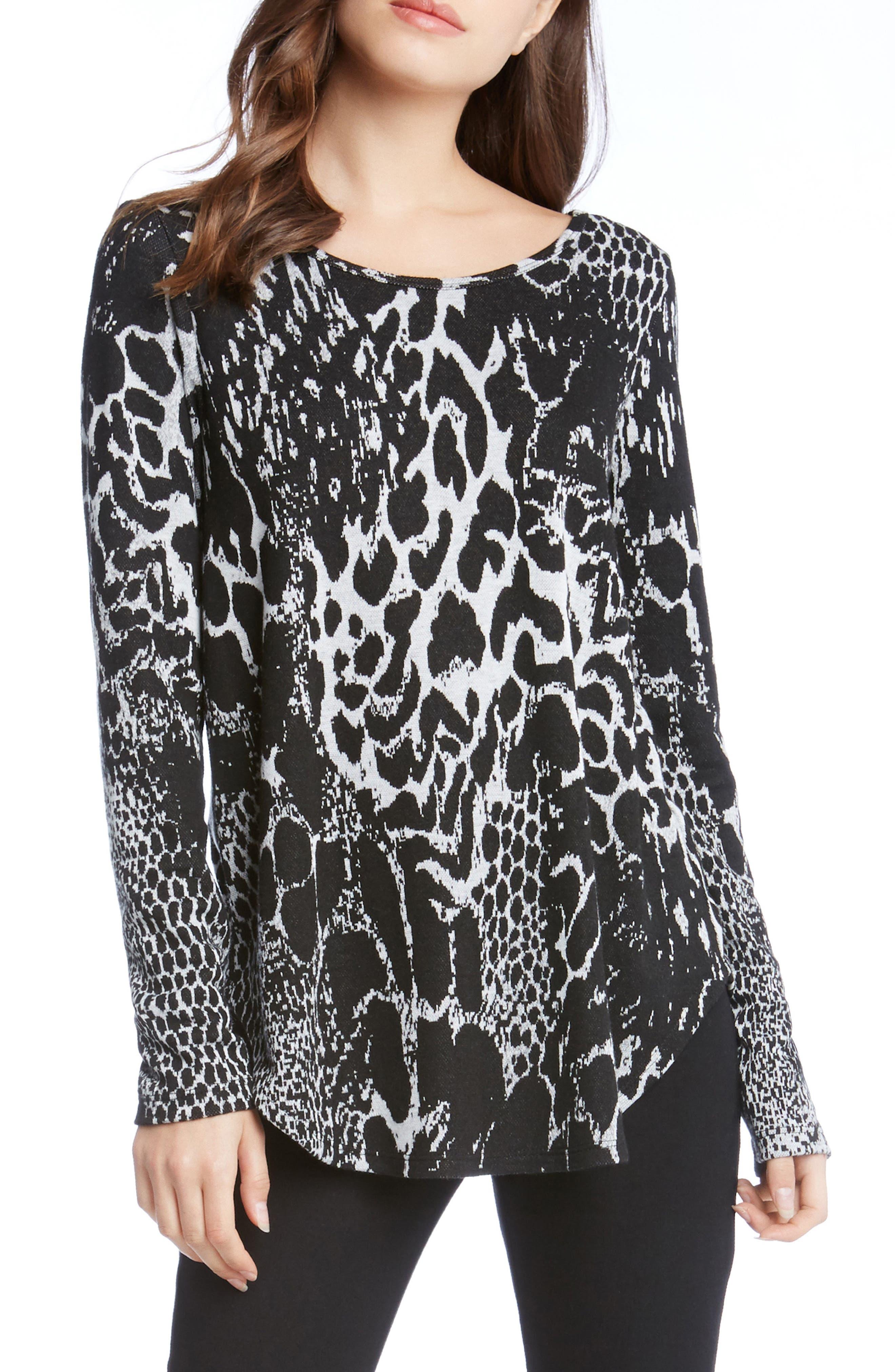 Alternate Image 1 Selected - Karen Kane Animal Print Shirttail Top