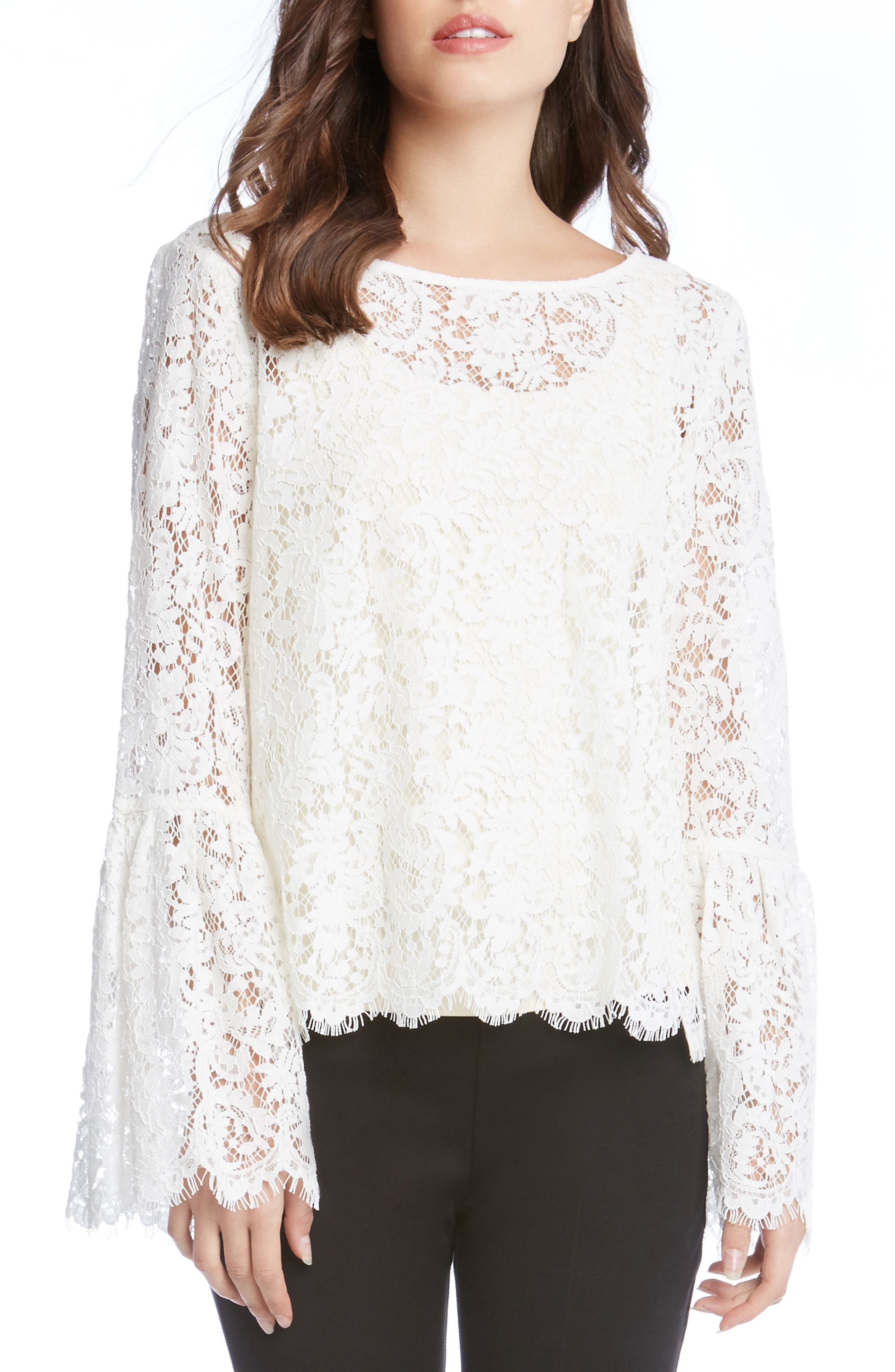 Lace Bell Sleeve Top,                             Main thumbnail 1, color,                             Cream