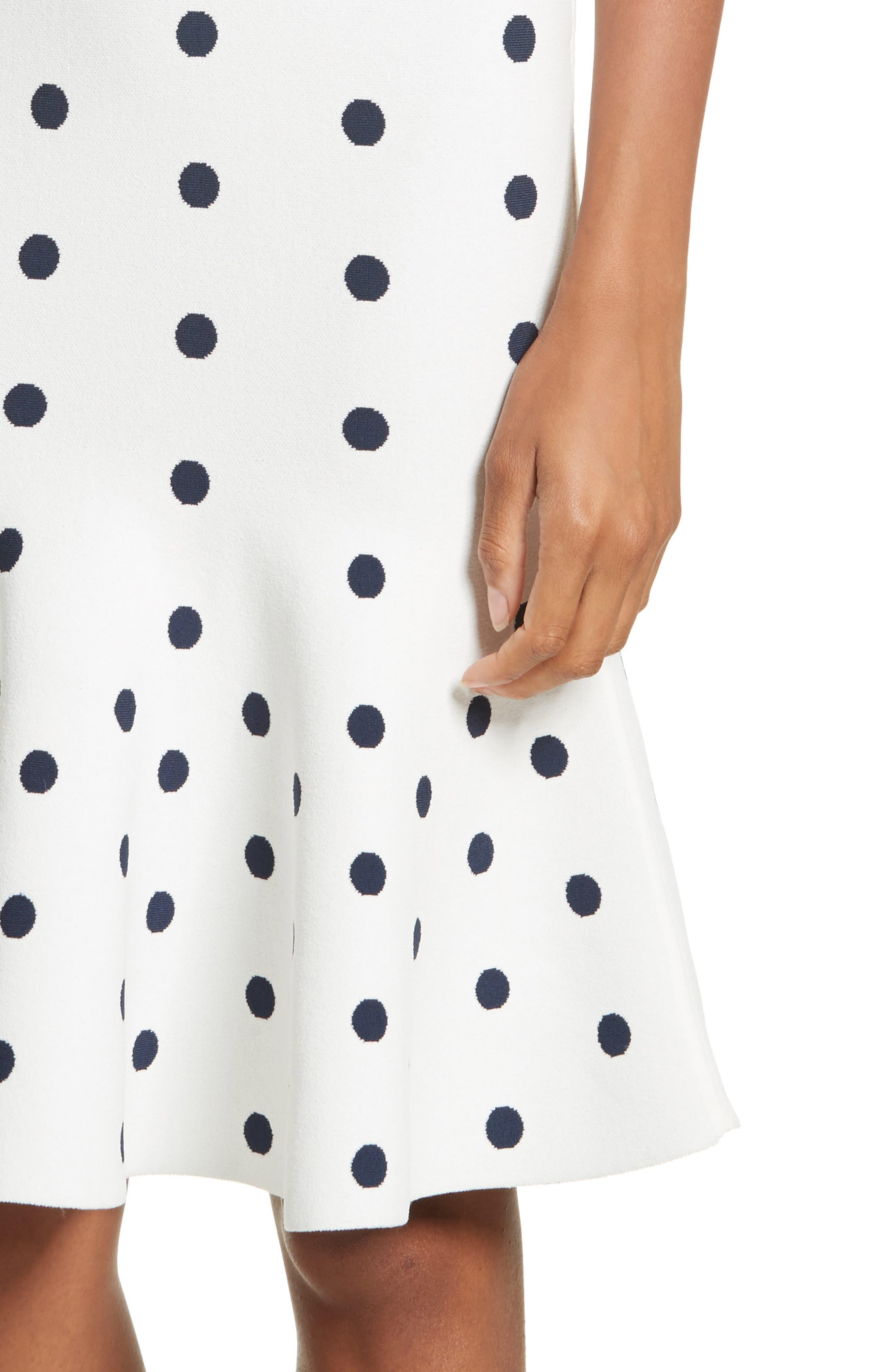 Polka Dot Mermaid Dress,                             Alternate thumbnail 4, color,                             White/ Navy