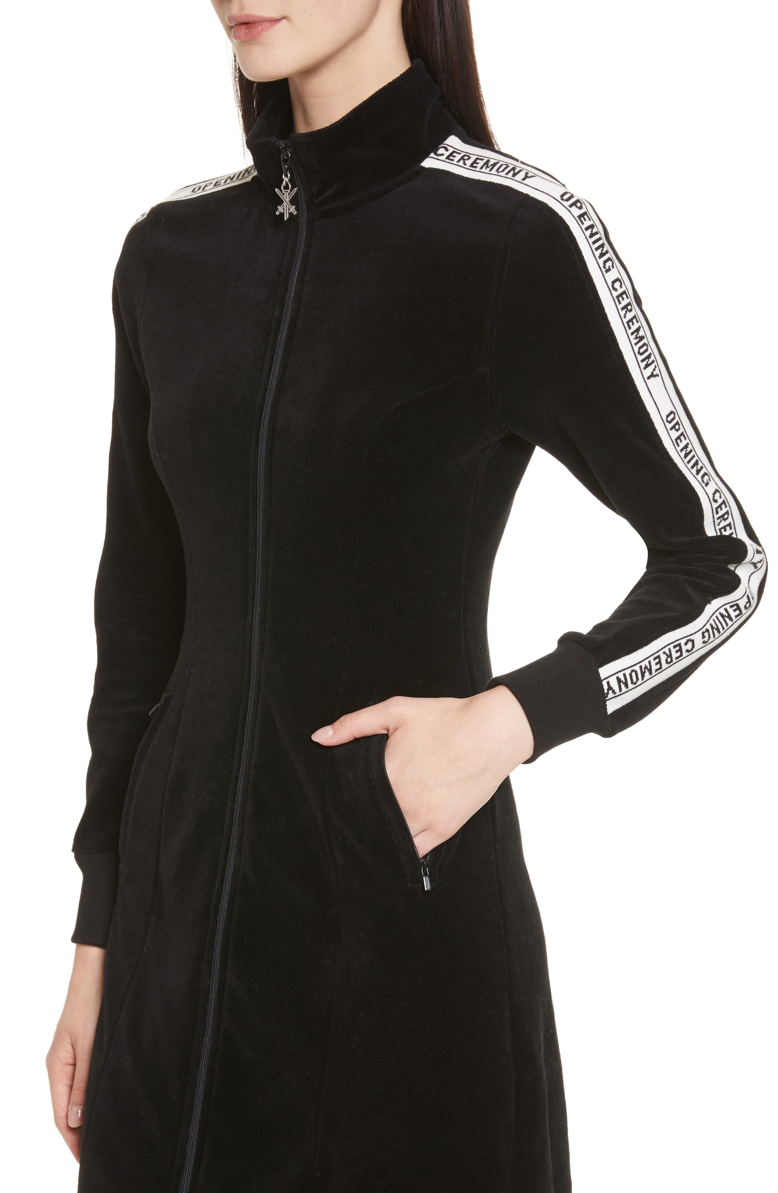 Velour Track Dress,                             Alternate thumbnail 4, color,                             Black